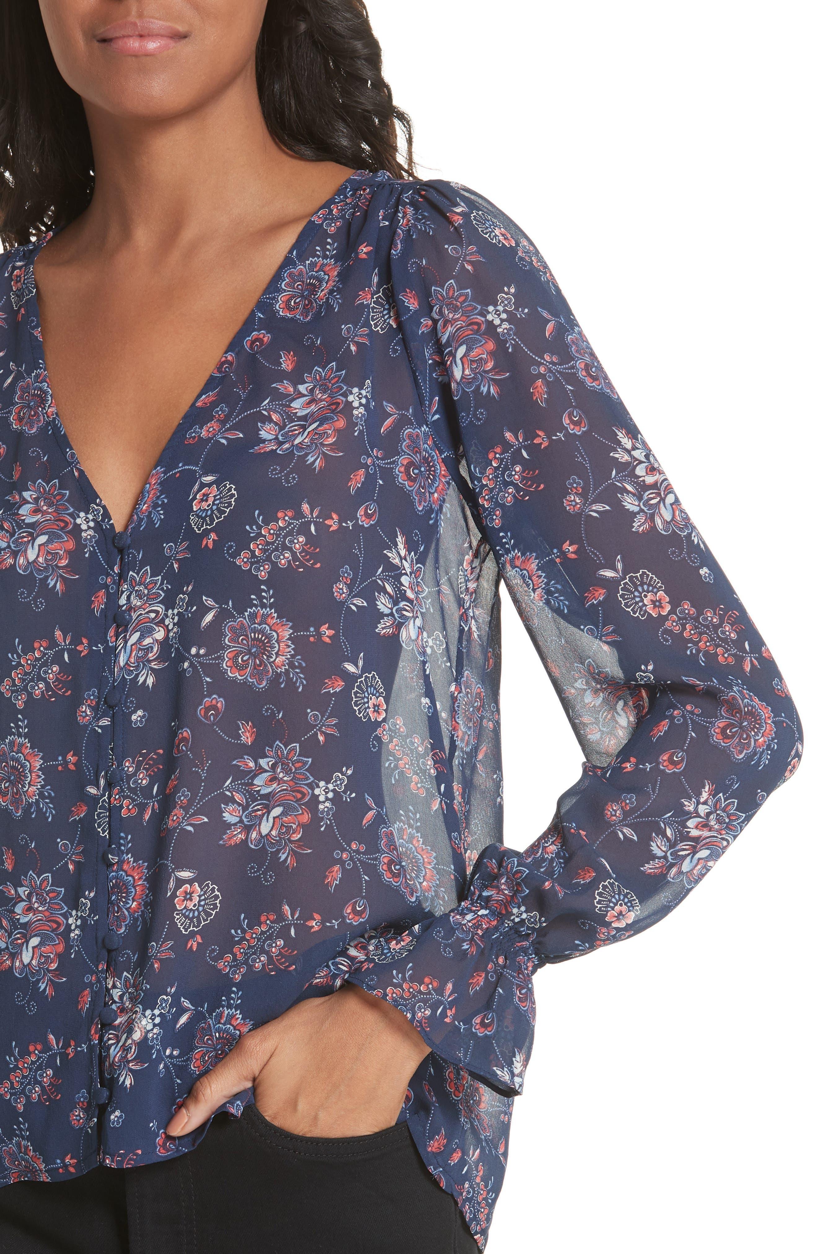Bolona Floral Silk Blouse,                             Alternate thumbnail 4, color,                             418