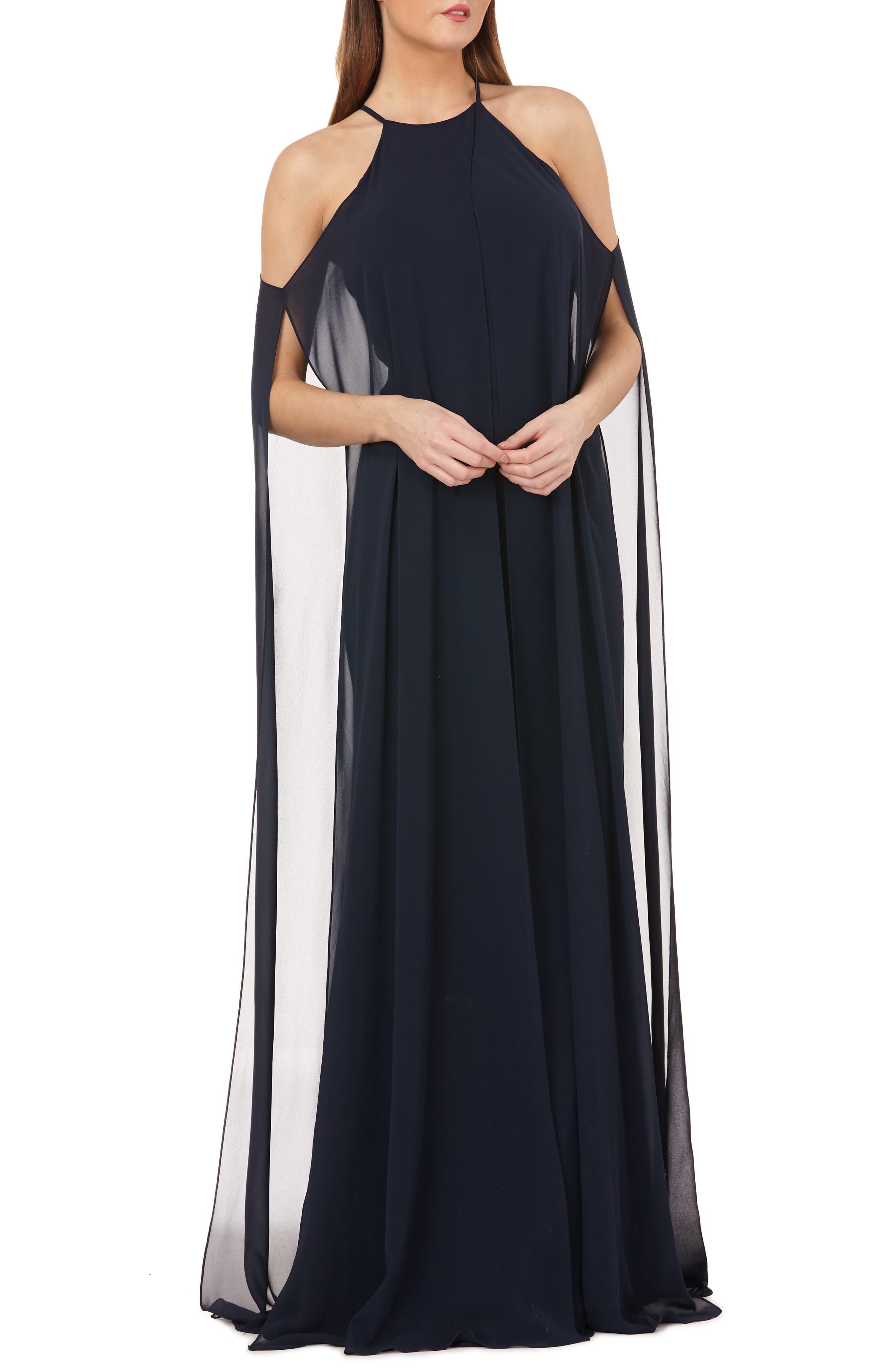 Carmen Marc Valvo Infusion Split Chiffon Halter Gown, Blue