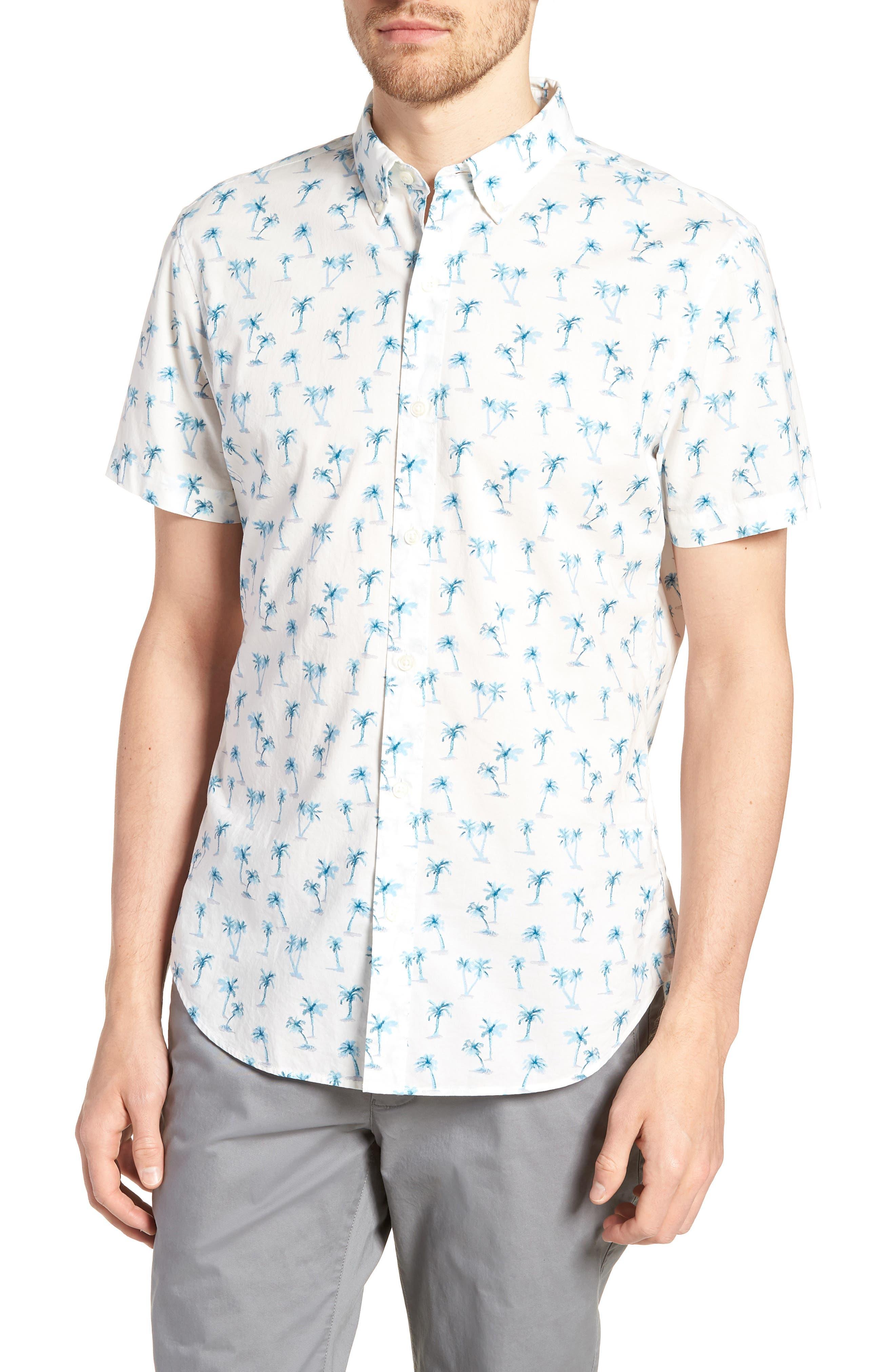 Riviera Slim Fit Palm Print Sport Shirt,                             Main thumbnail 1, color,                             100