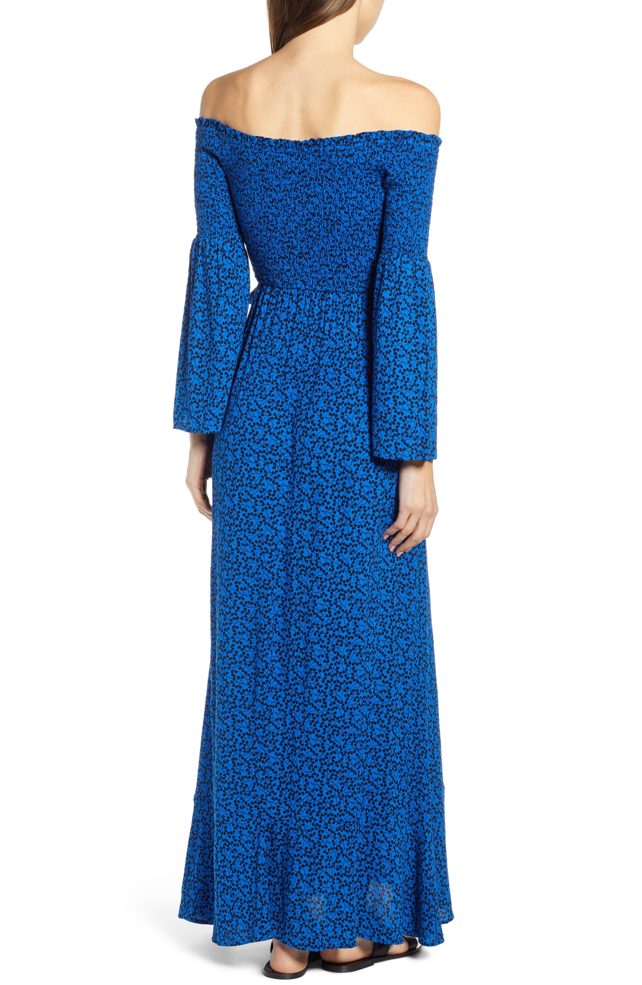 Bali Off The Shoulder Maxi Dress,                             Alternate thumbnail 2, color,                             ROYAL/ BLACK