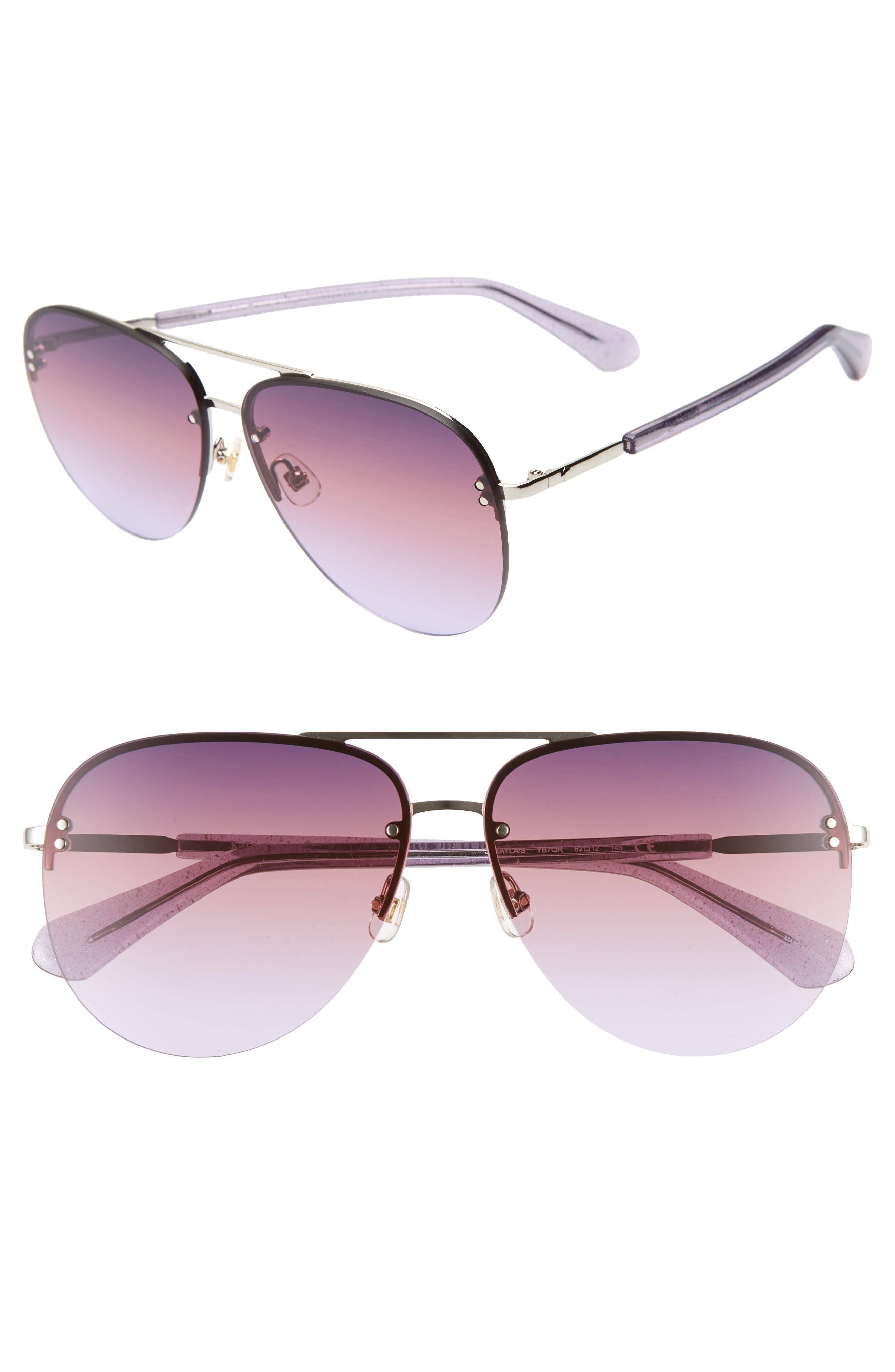 jakaylas 62mm aviator sunglasses,                         Main,                         color, SILVER