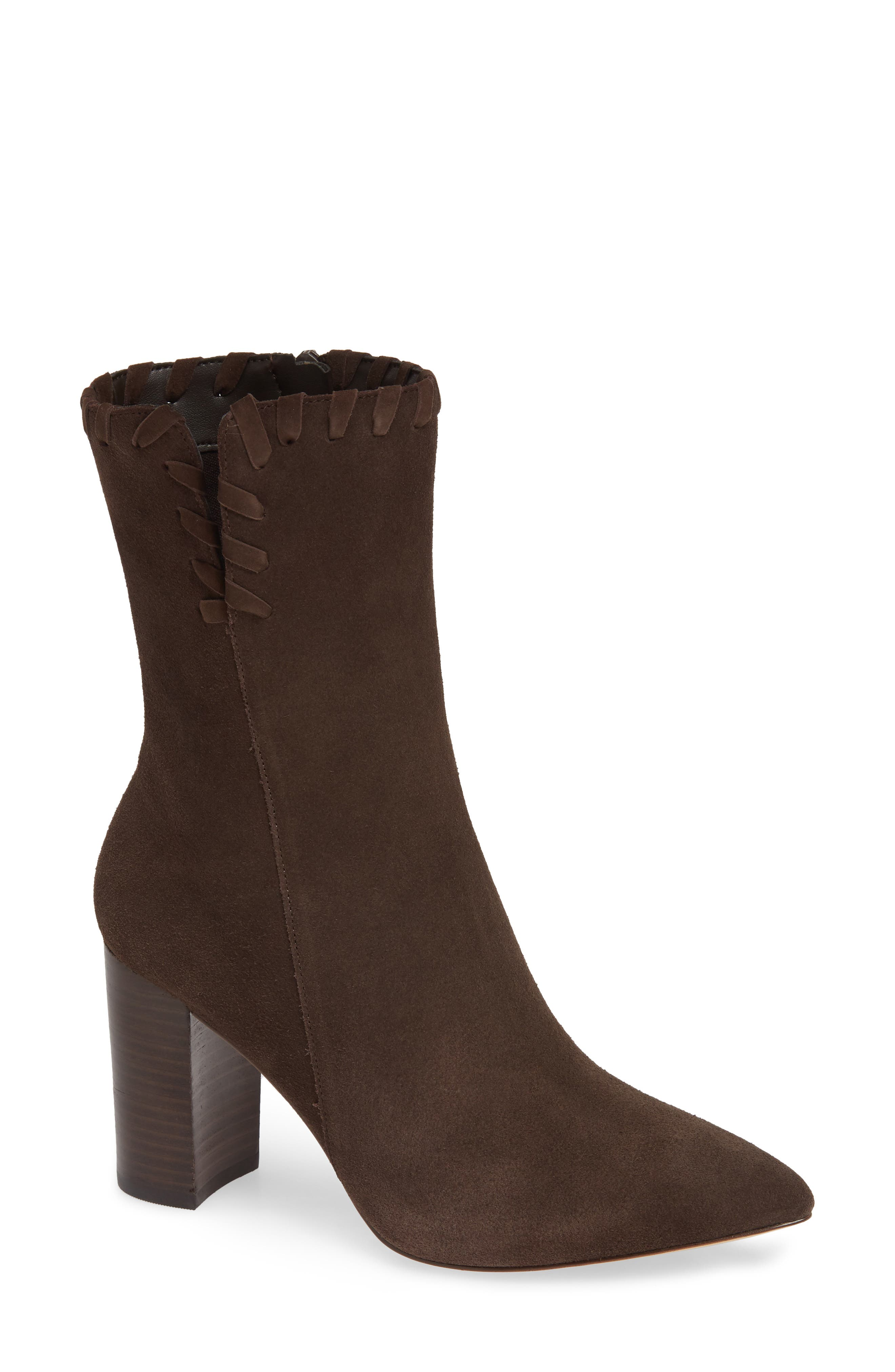 Camilla Bootie,                             Main thumbnail 1, color,                             CHOCOLATE SUEDE