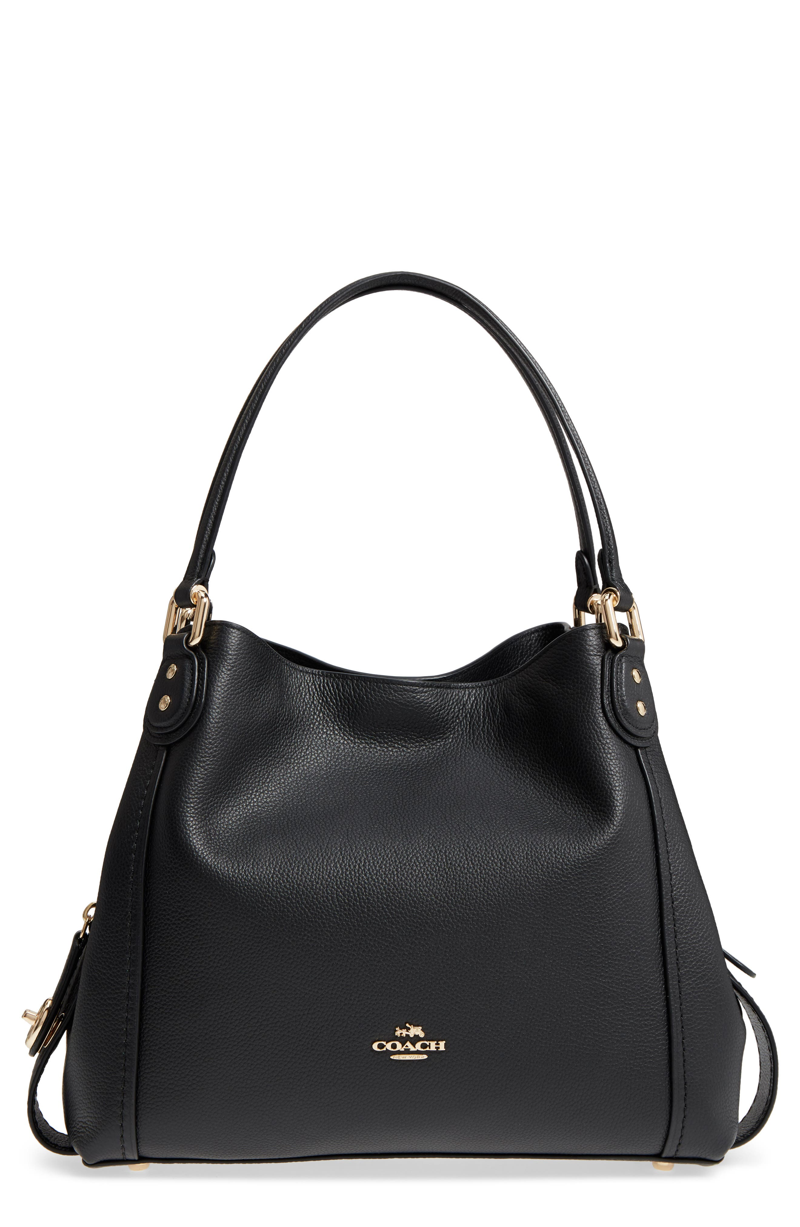 Edie 31 Pebbled Leather Shoulder Bag,                             Main thumbnail 1, color,                             BLACK