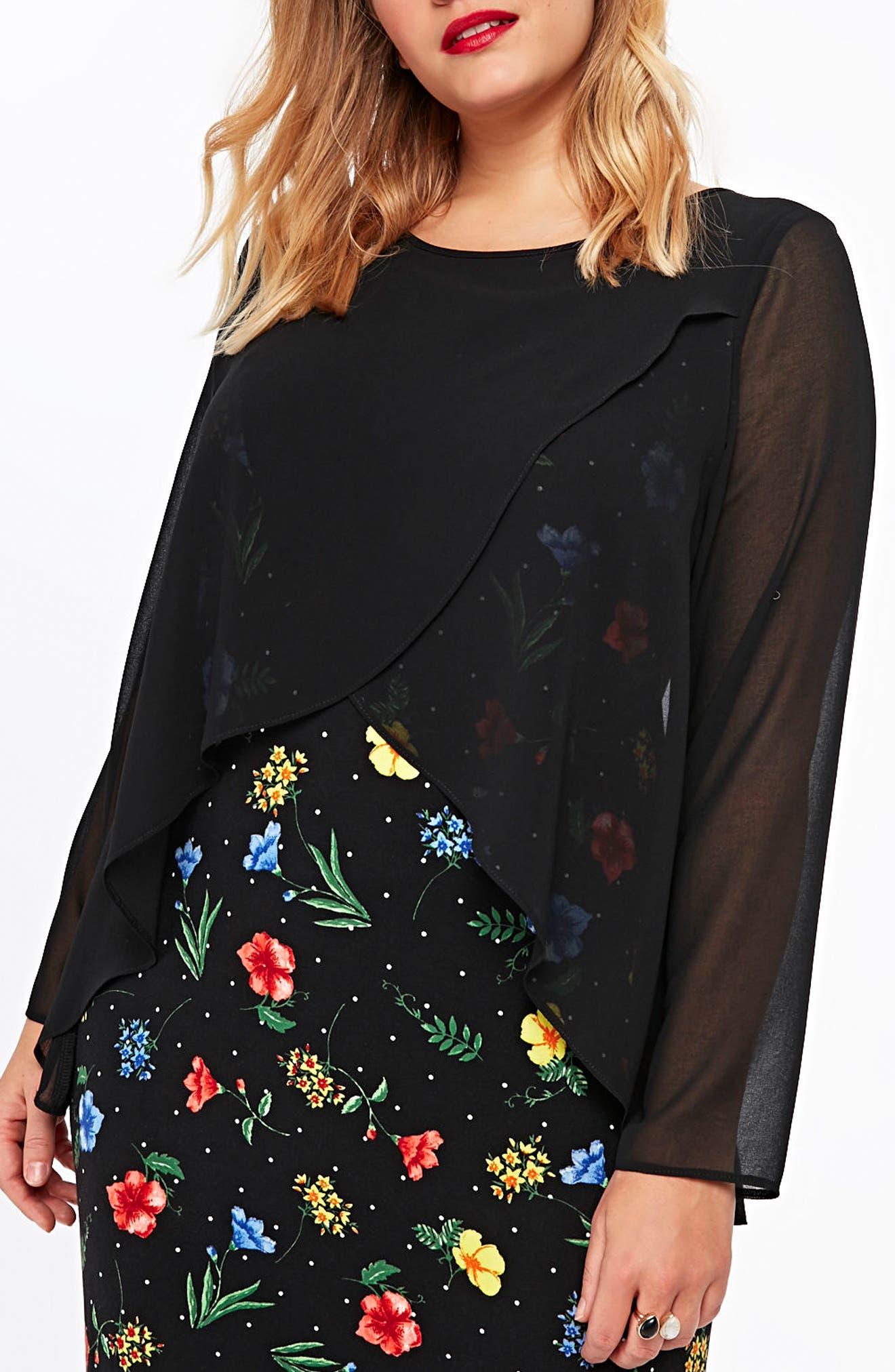 Split Overlay Floral Maxi Dress,                             Main thumbnail 1, color,                             010