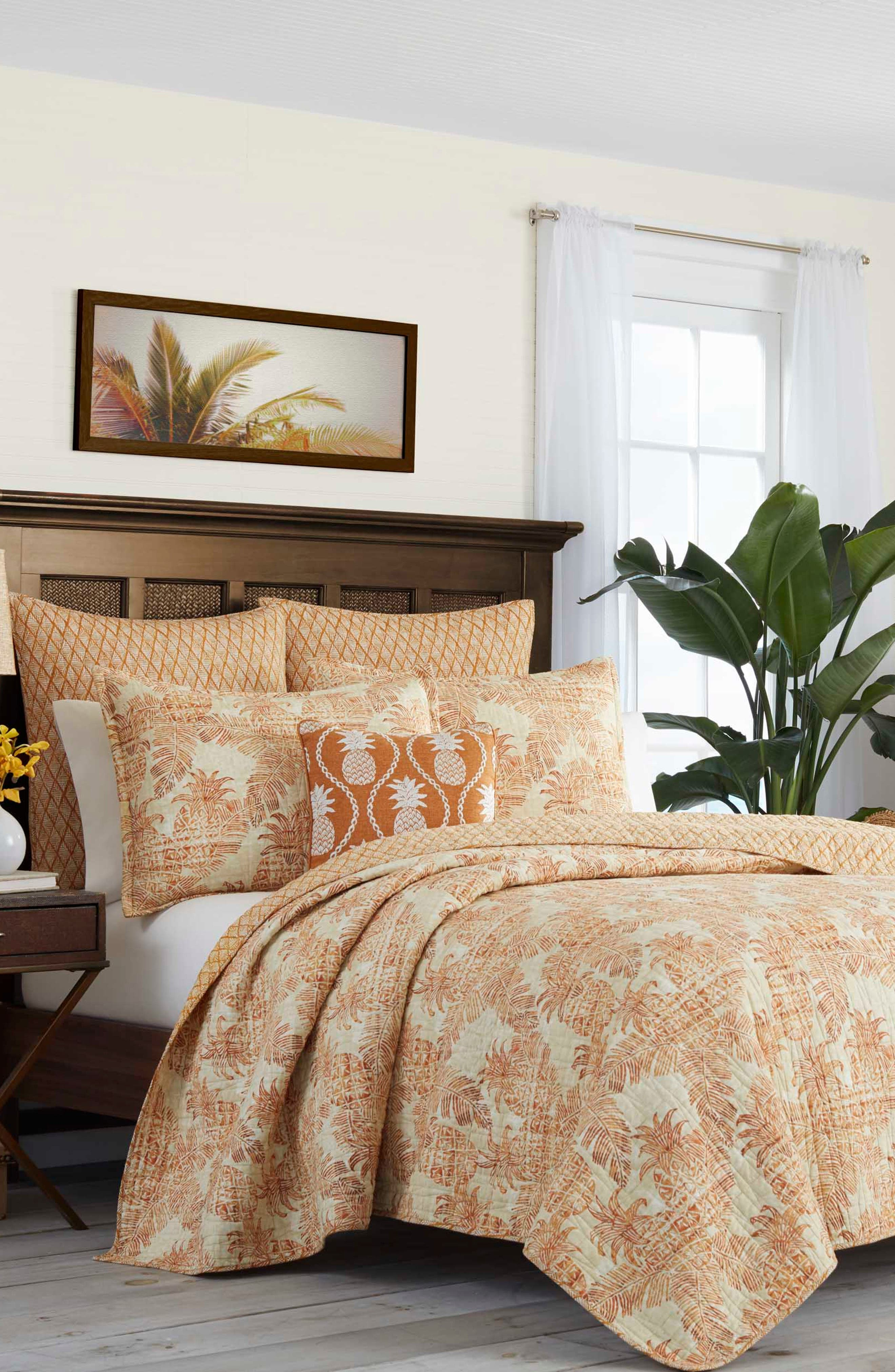 TOMMY BAHAMA,                             Batik Pineapple Quilted Accent Pillow,                             Alternate thumbnail 2, color,                             CORAL