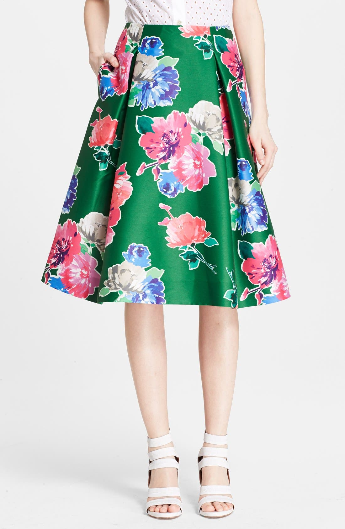 'lorella' floral print a-line skirt,                             Main thumbnail 1, color,                             313