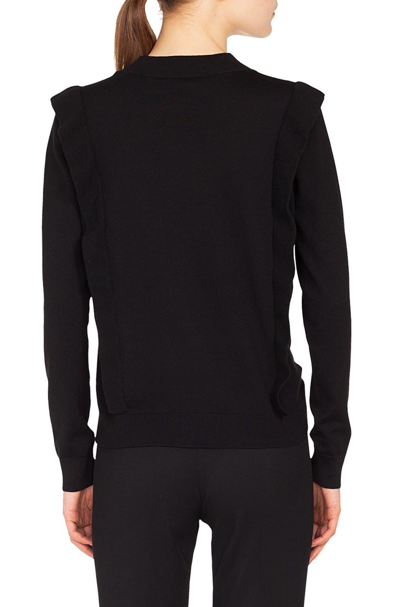 Ruffle Detail Wool Sweater,                             Alternate thumbnail 2, color,                             BLACK
