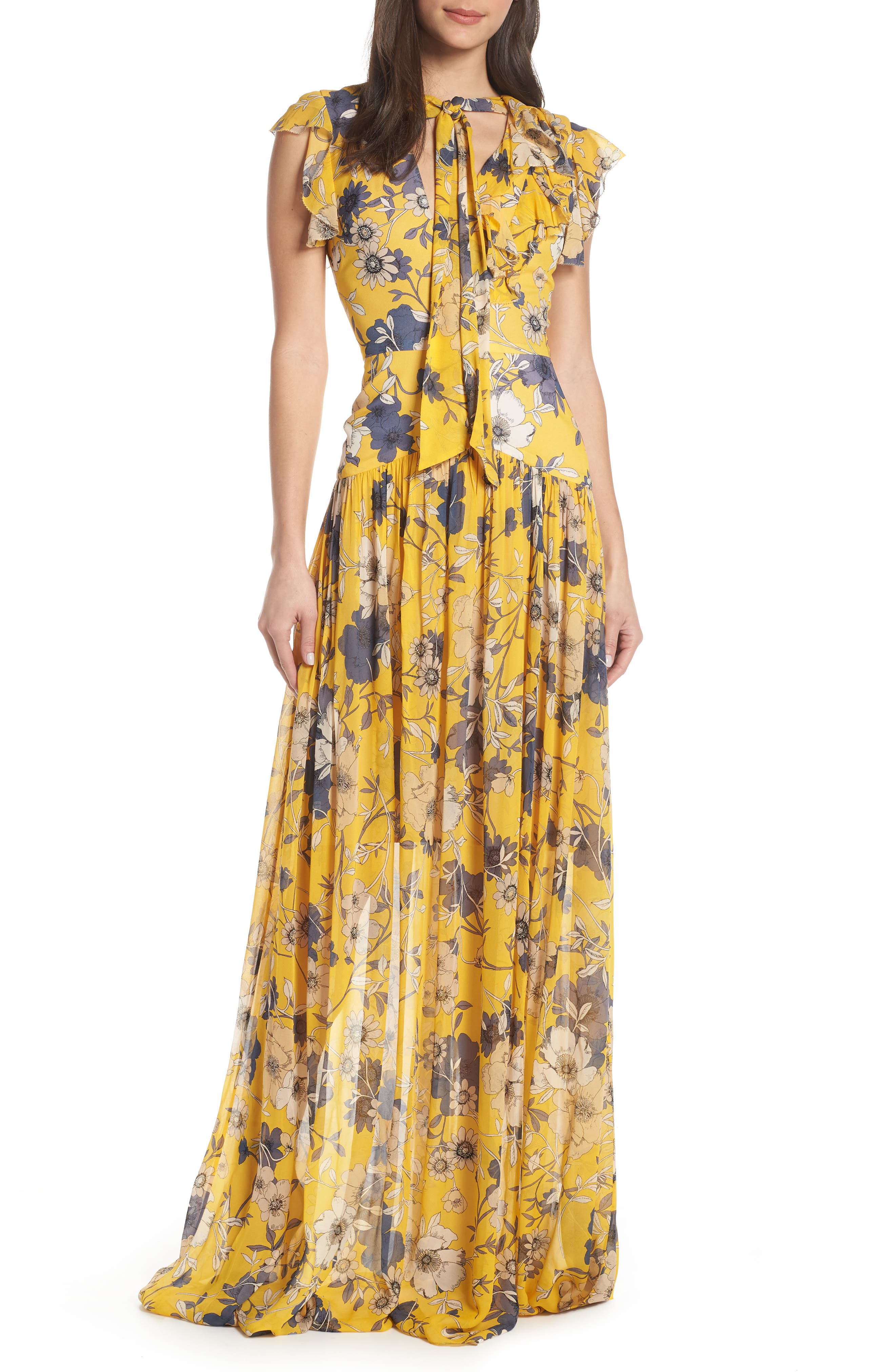 1930s Dresses | 30s Art Deco Dress Womens Ml Monique Lhuillier Floral Maxi Dress Size 16 - Yellow $595.00 AT vintagedancer.com