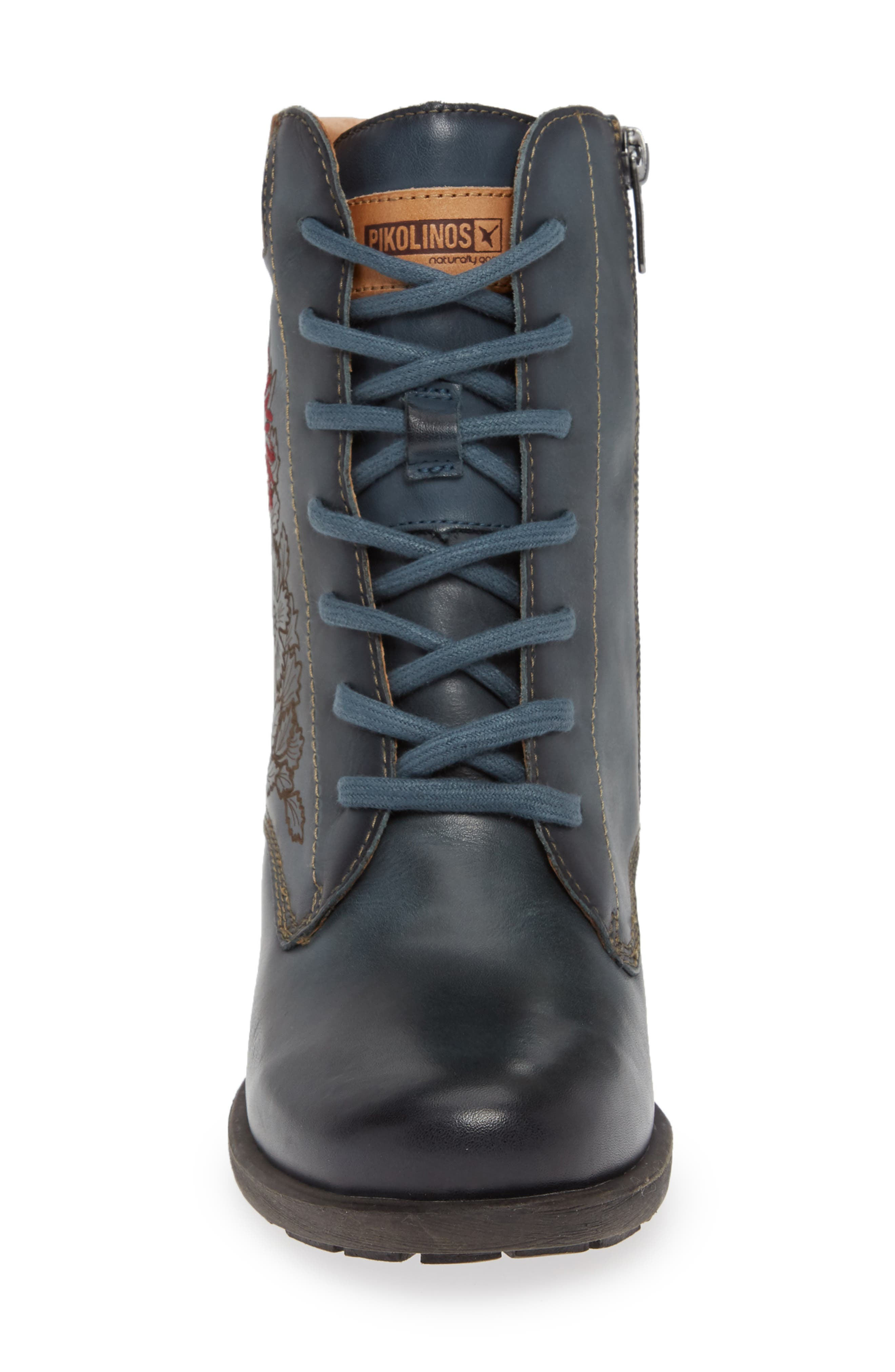 Le Mans Embroidered Lace-Up Bootie,                             Alternate thumbnail 4, color,                             OCEAN LEATHER