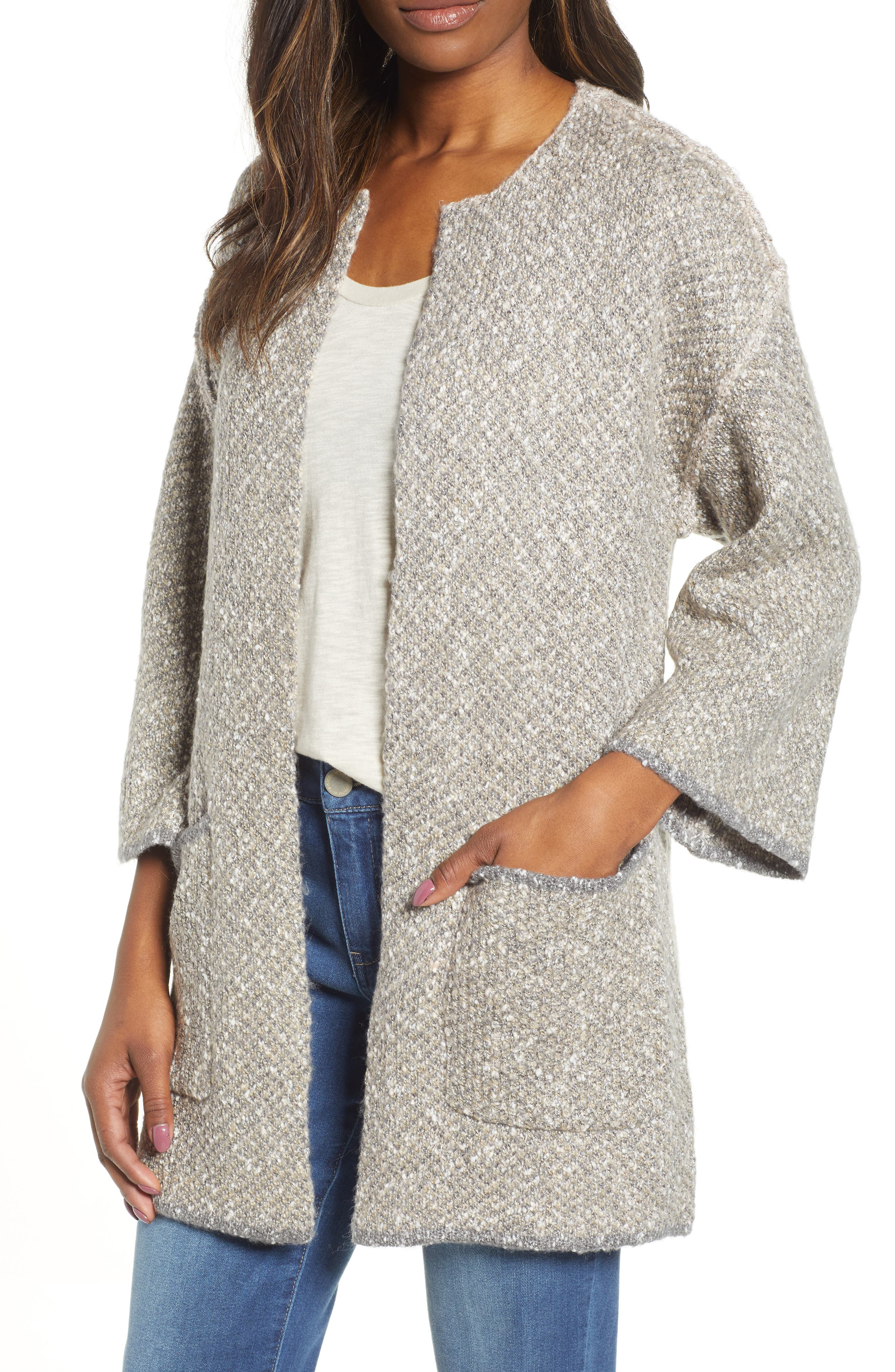 WIT & WISDOM Reversible Leopard Jacquard Sweater Jacket, Main, color, OATMEAL