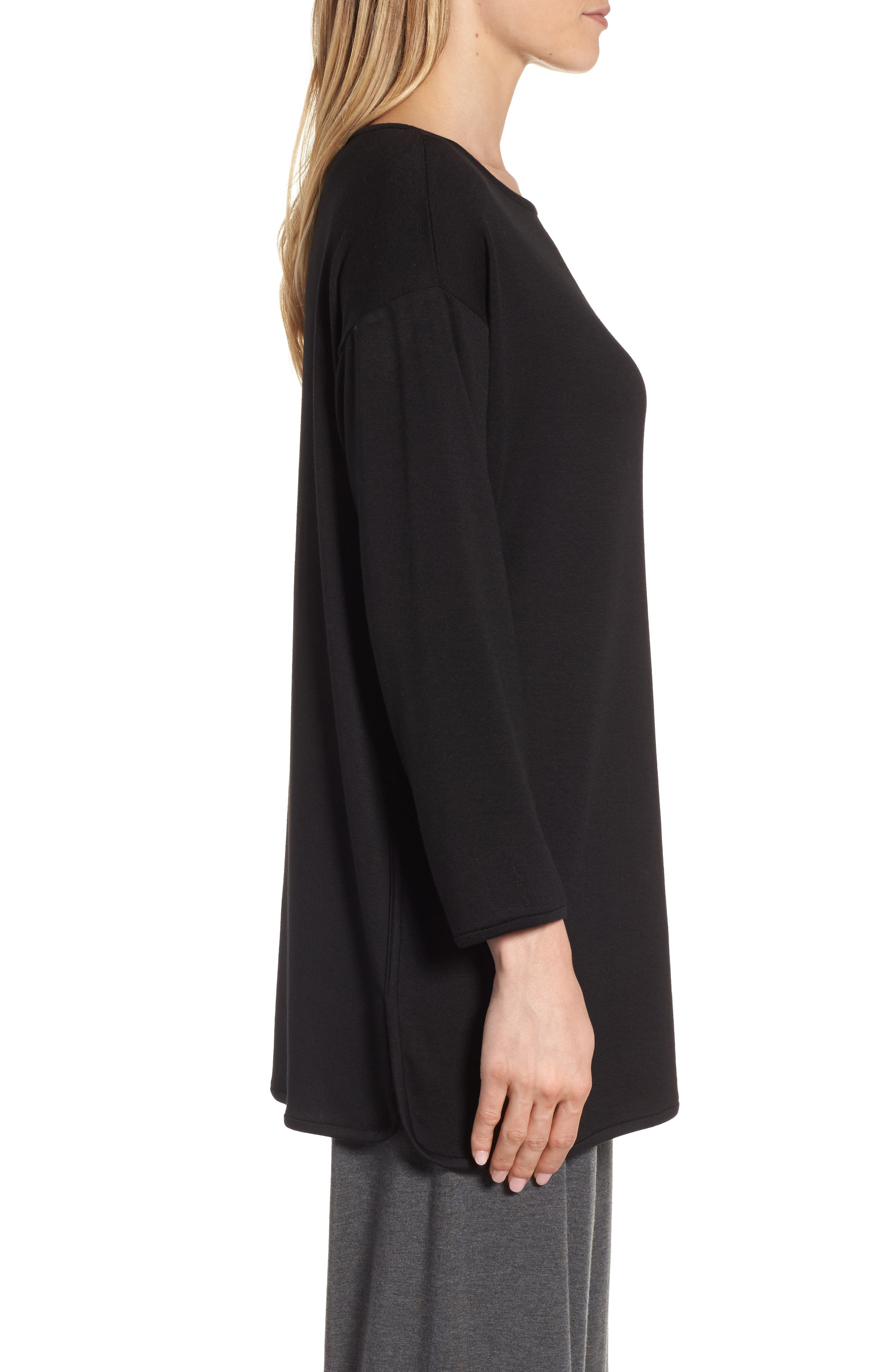 Stretch Tencel<sup>®</sup> Knit Top,                             Alternate thumbnail 3, color,                             001
