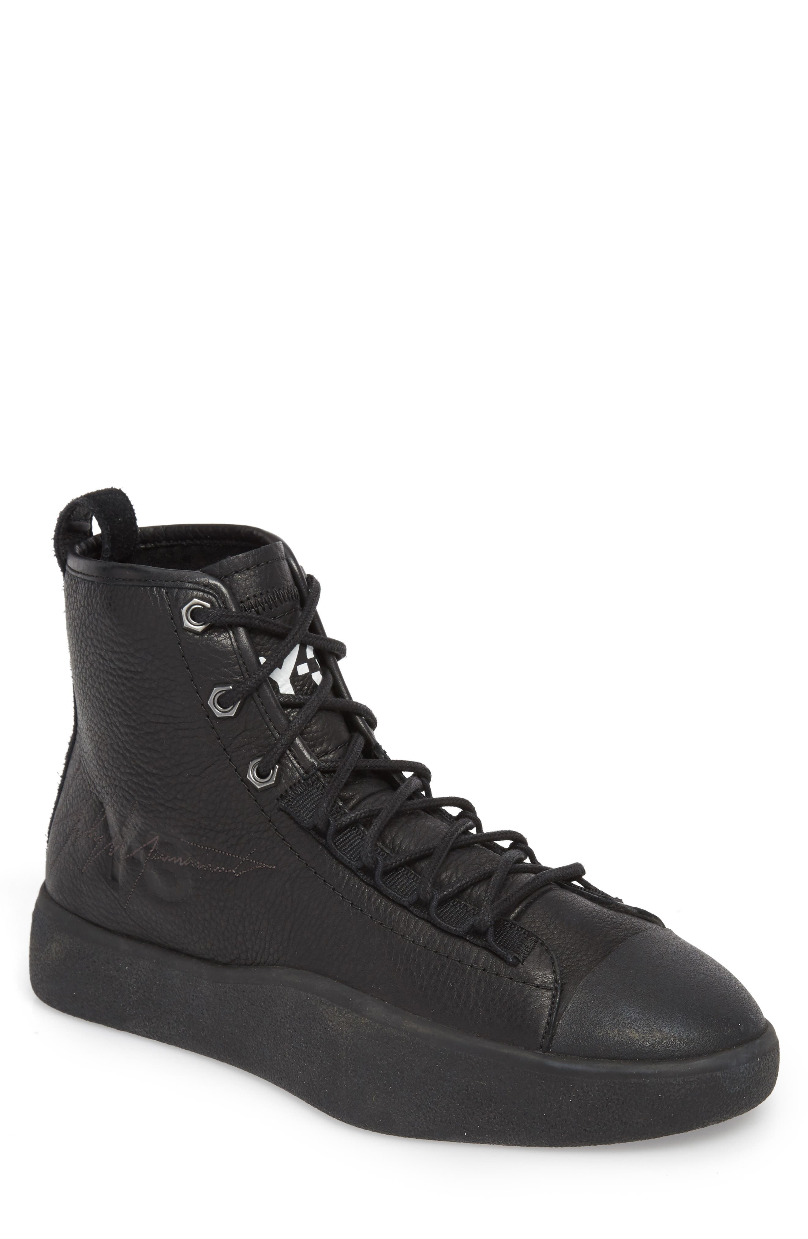 x adidas Bashyo High Top Sneaker,                         Main,                         color, BLACK/BLACK