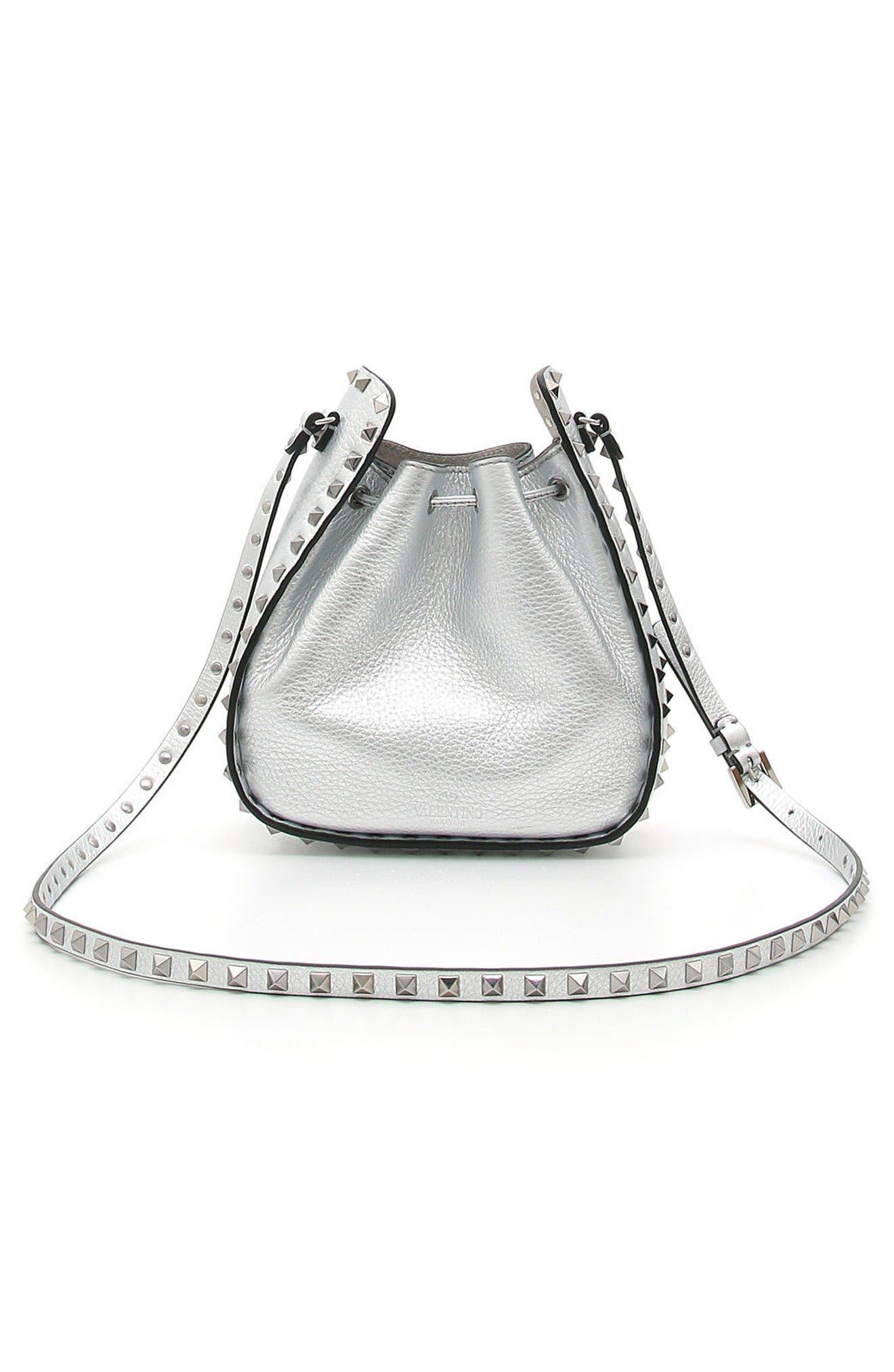 Rockstud Metallic Leather Bucket Bag,                             Alternate thumbnail 2, color,                             040