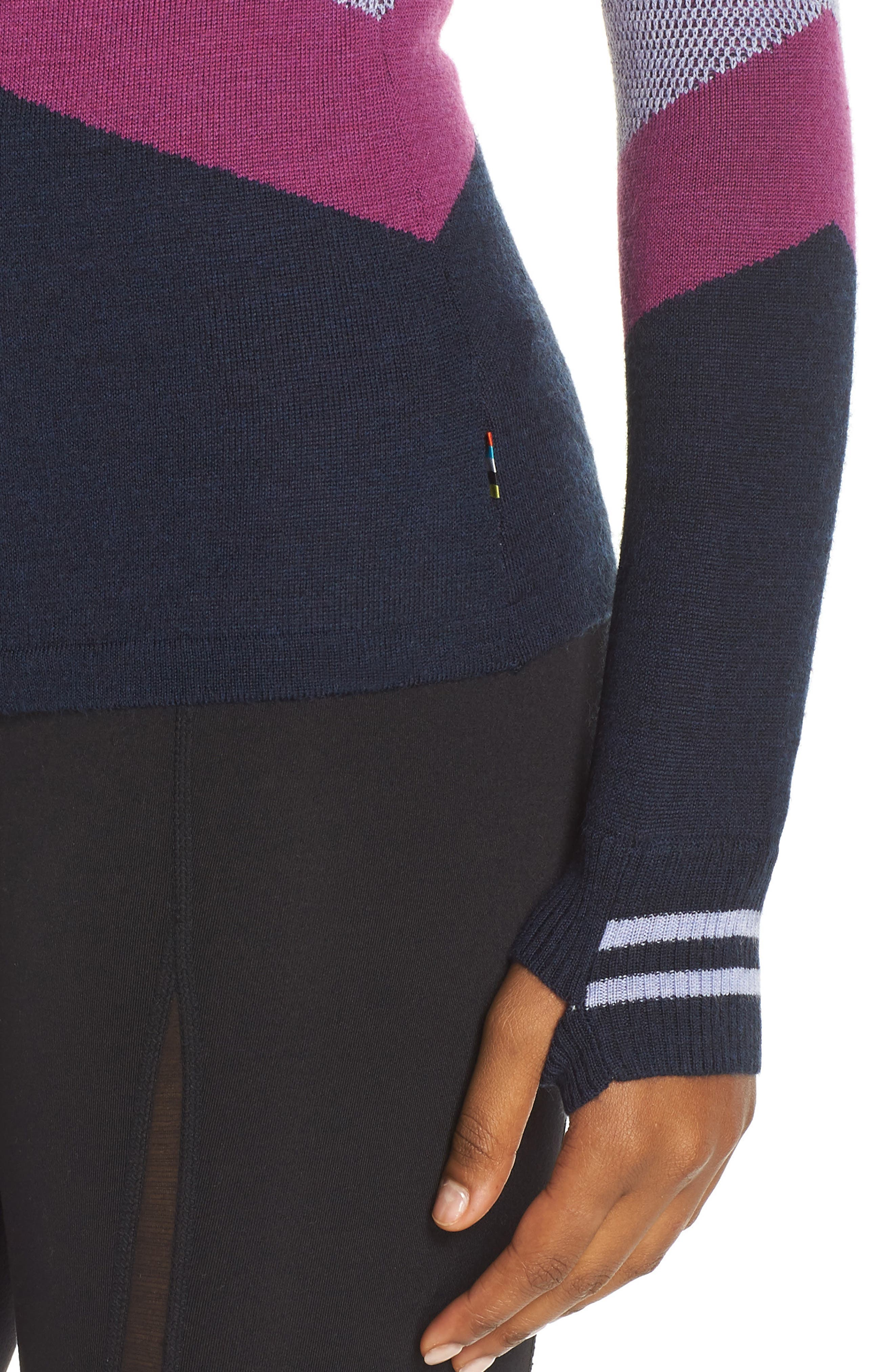 Ski Funnel Neck Sweater,                             Alternate thumbnail 4, color,                             DEEP NAVY HEATHER