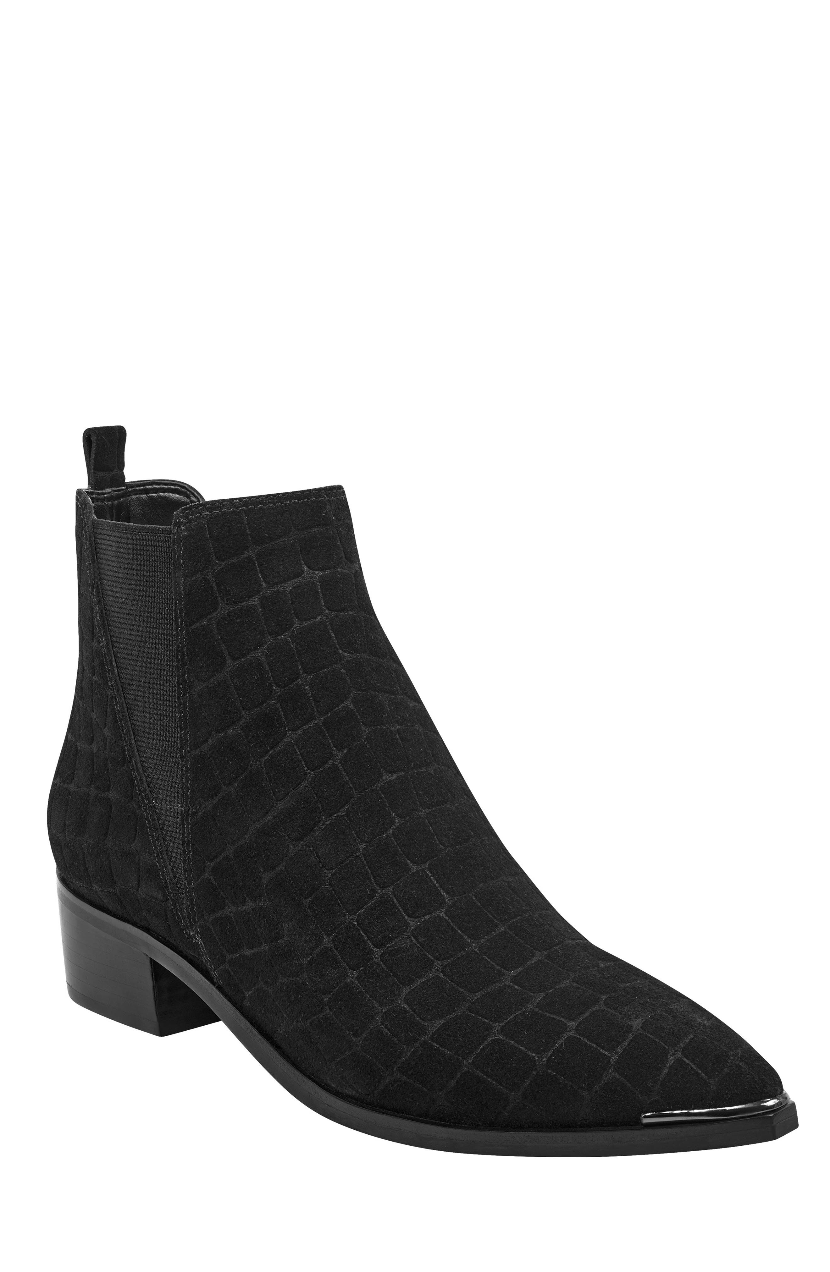 'Yale' Chelsea Boot,                         Main,                         color, BLACK CROC EMBOSSED SUEDE