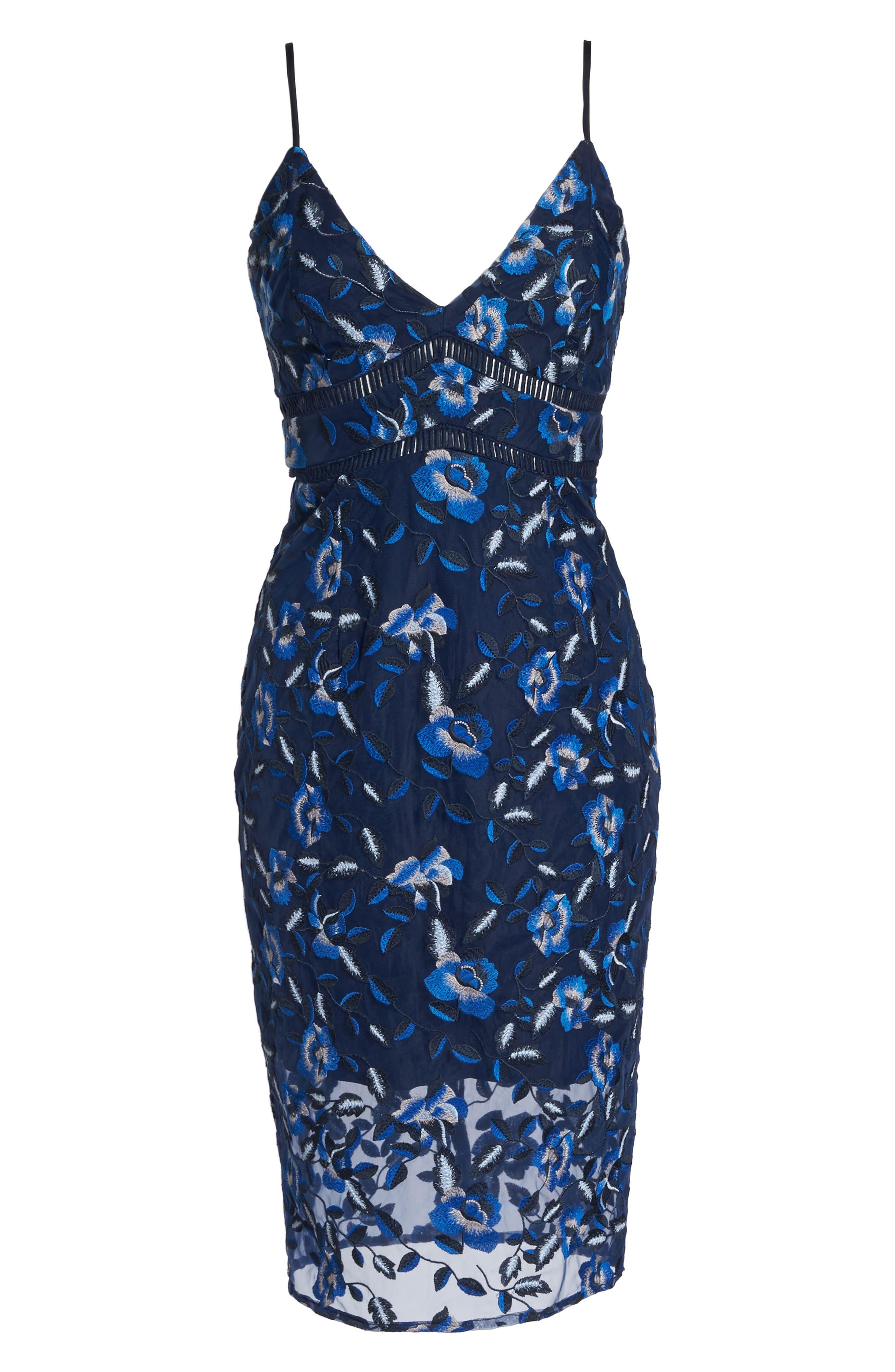 Sapphire Lace Pencil Dress,                             Alternate thumbnail 6, color,                             471