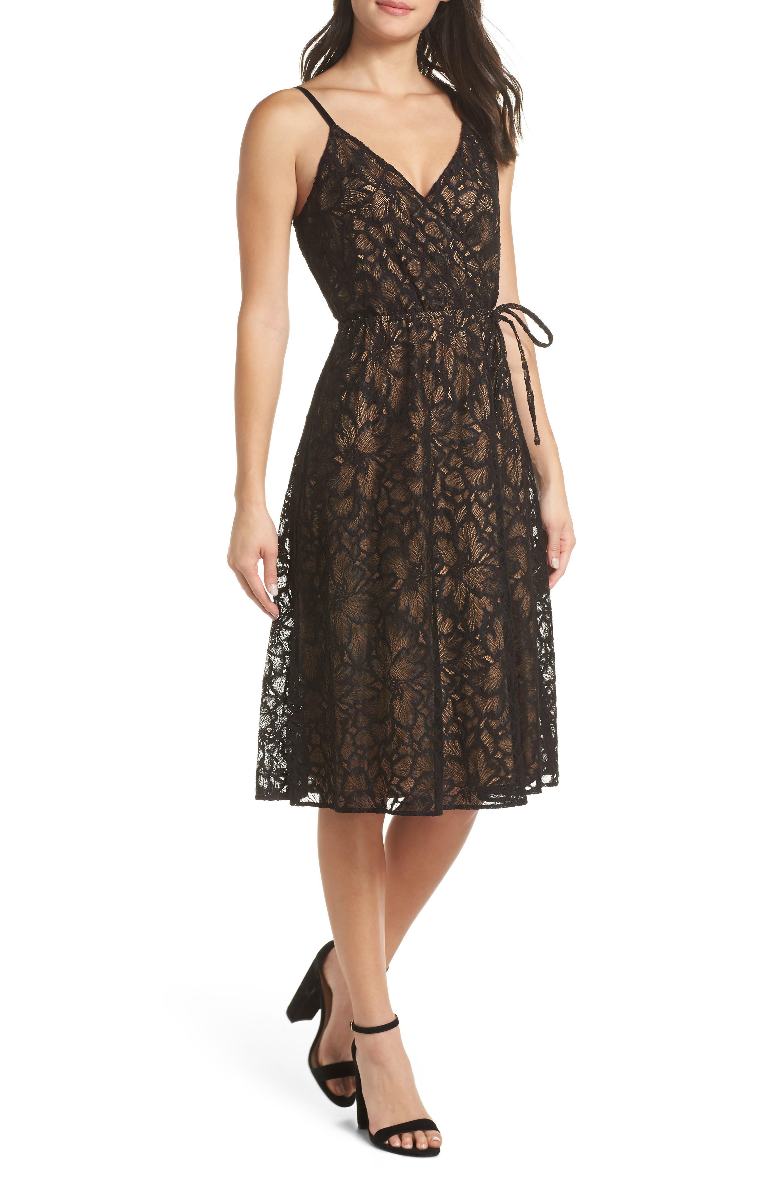 ALI & JAY Cheek To Cheek Lace Midi Dress in Black