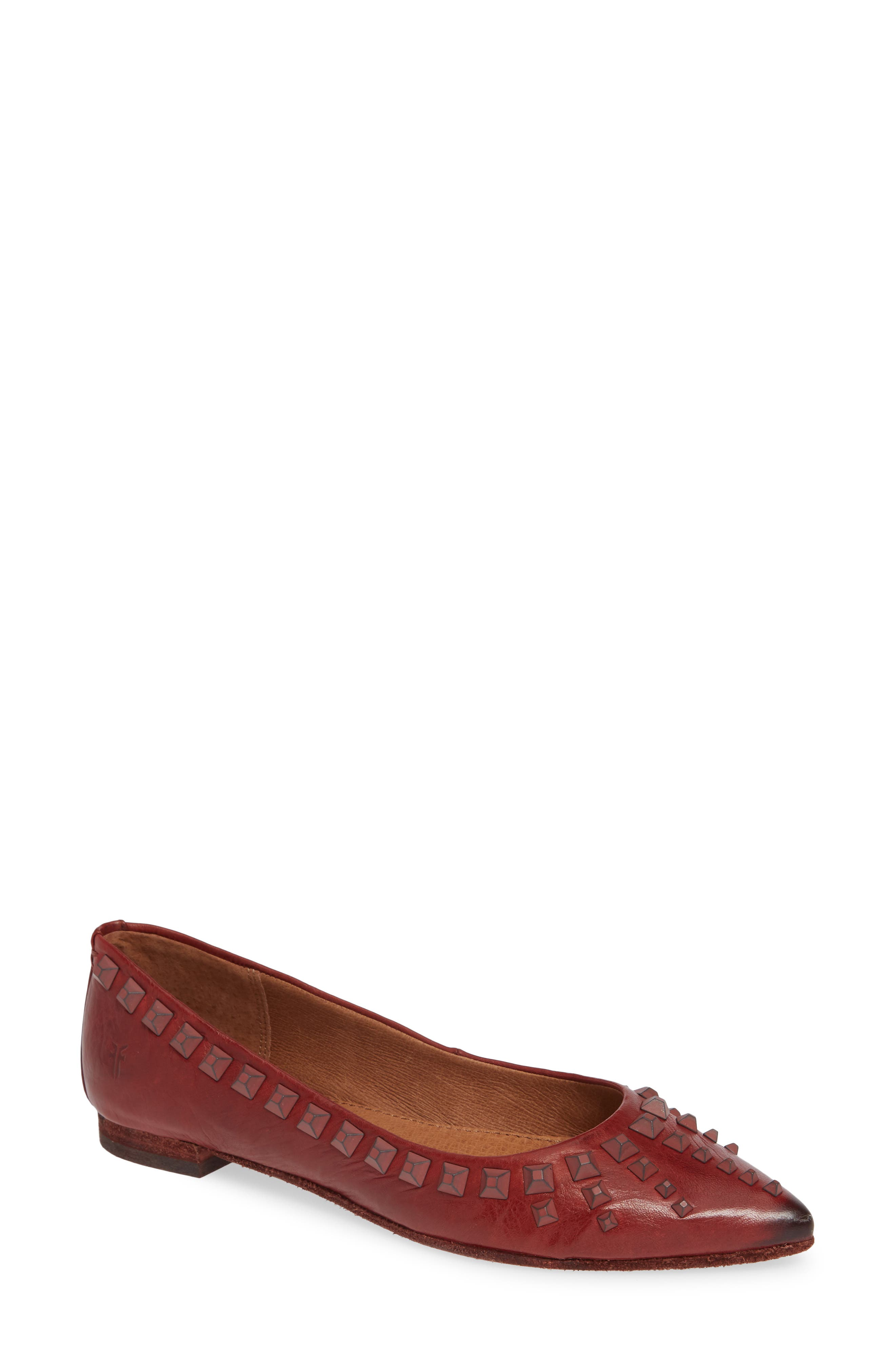 Sienna Deco Stud Ballet Flat,                         Main,                         color, RED CLAY LEATHER