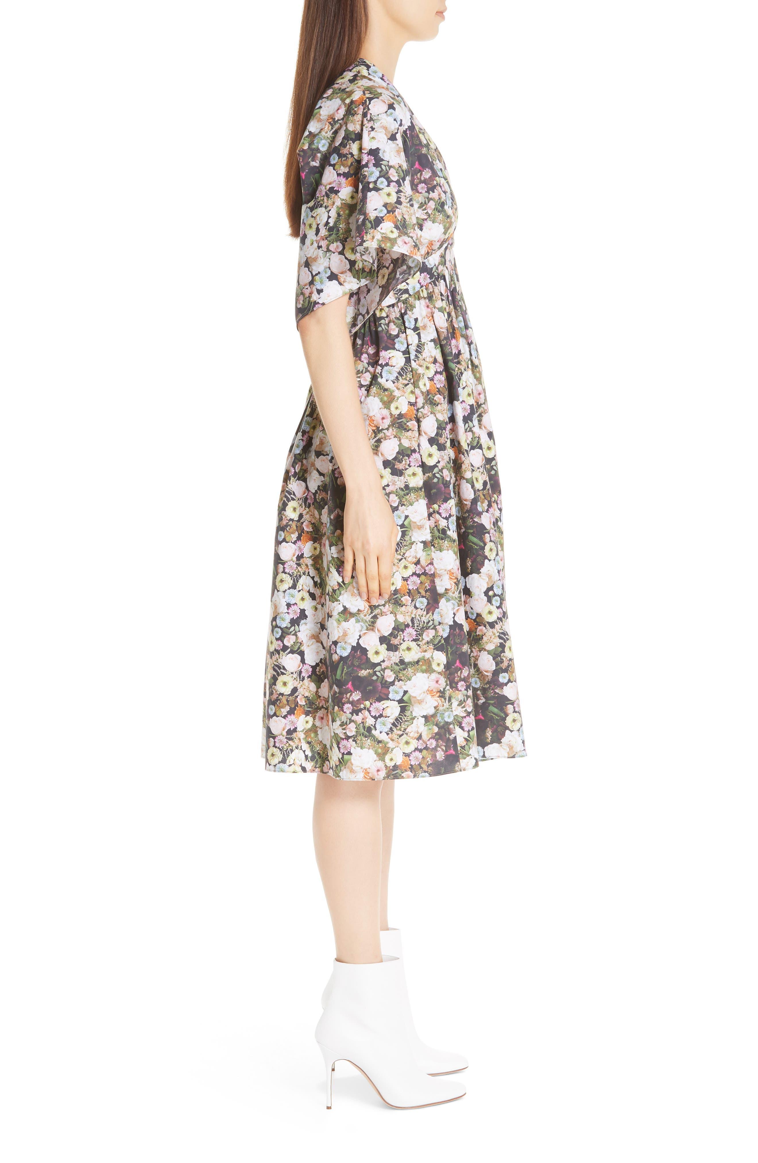 Floral Print Poplin Dress,                             Alternate thumbnail 3, color,                             BLACK FLORAL