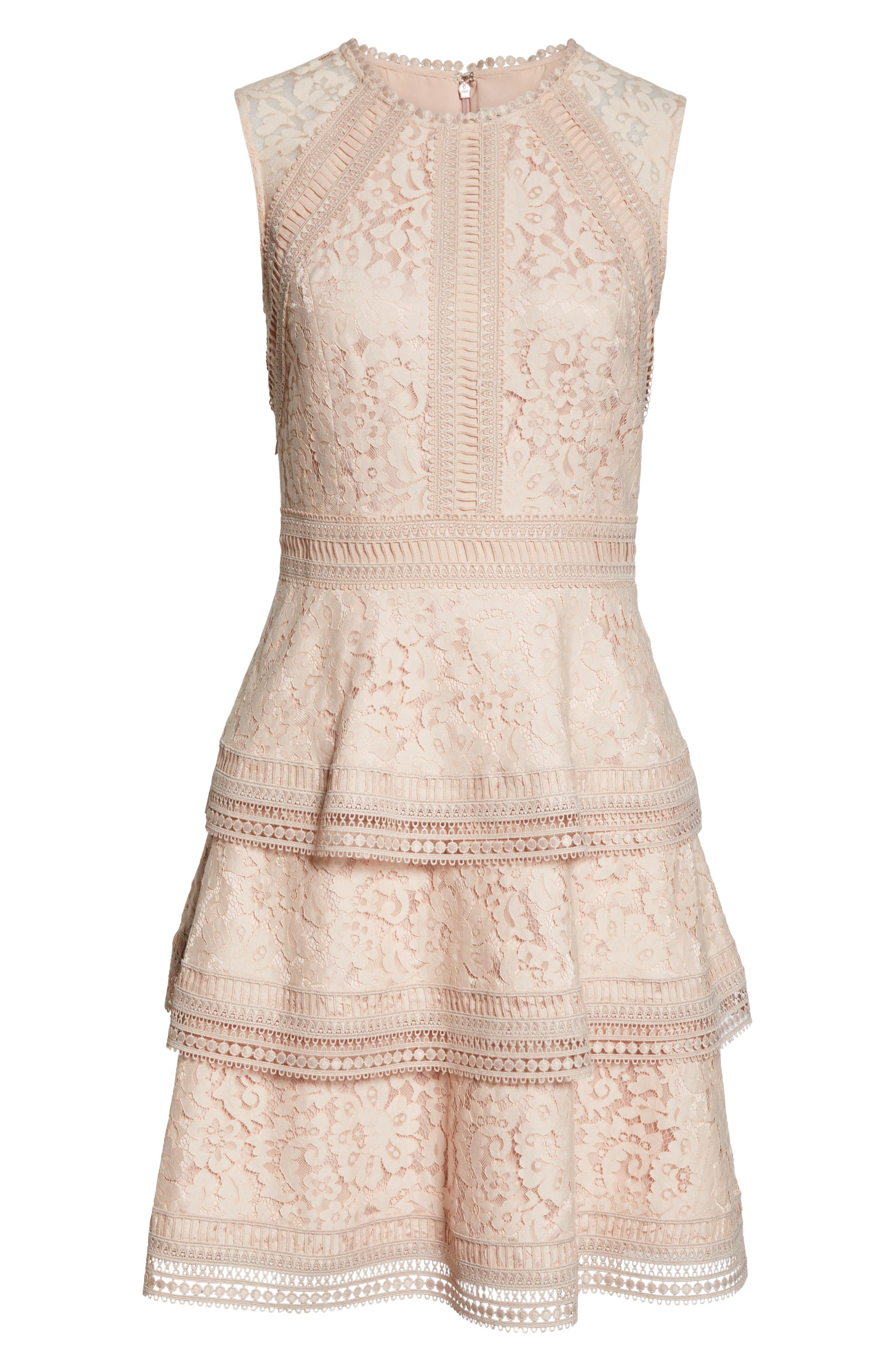 ELIZA J,                             Lace Fit & Flare Dress,                             Alternate thumbnail 7, color,                             BLUSH