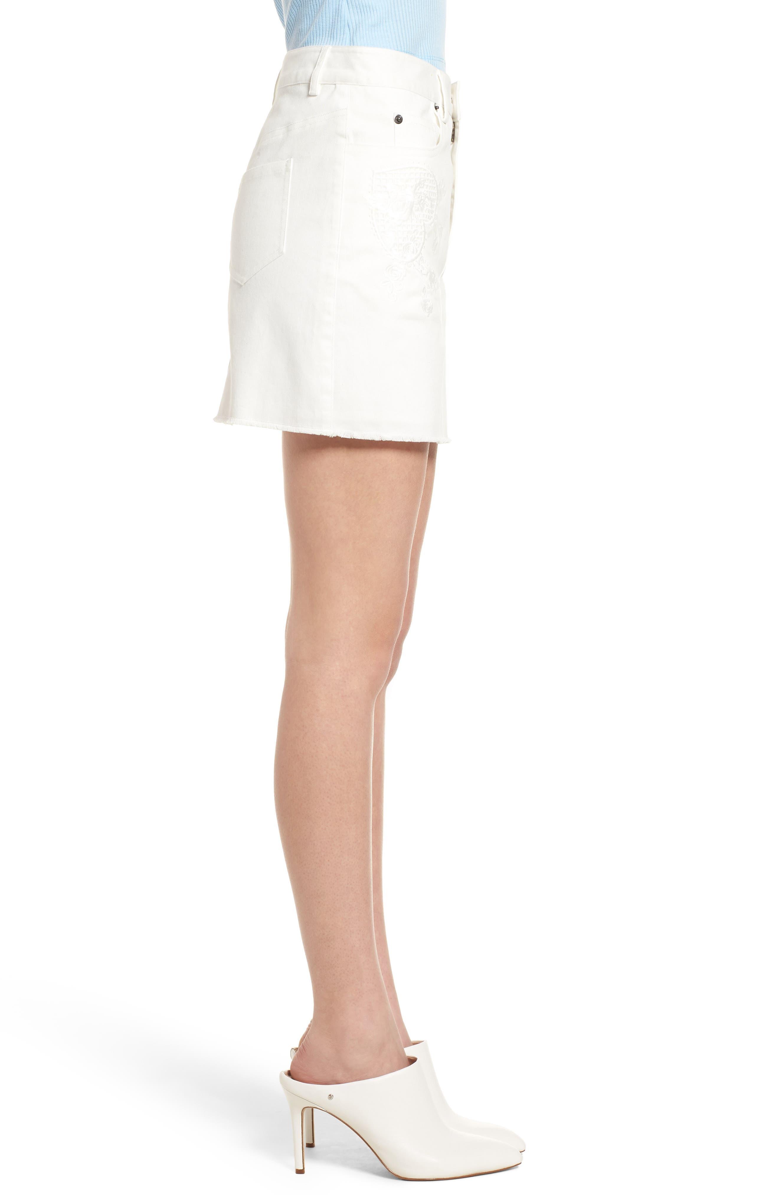 Eva Embroidered Denim Miniskirt,                             Alternate thumbnail 3, color,                             WHITE