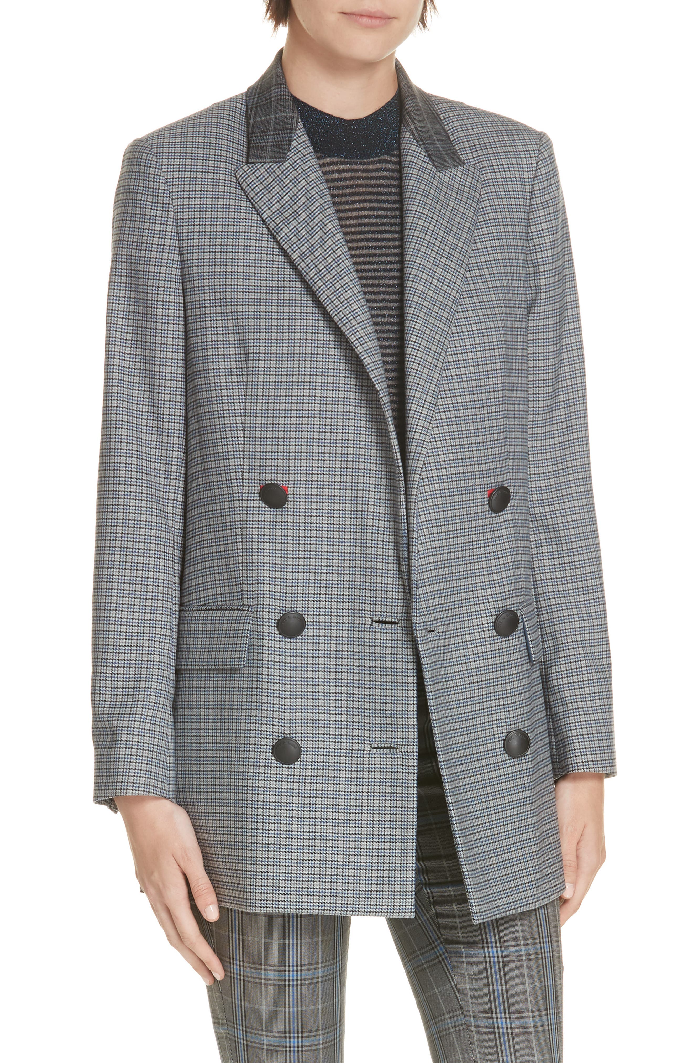 Ellie Check Wool Blend Blazer,                             Main thumbnail 1, color,                             LTGRY/ BLUCHK
