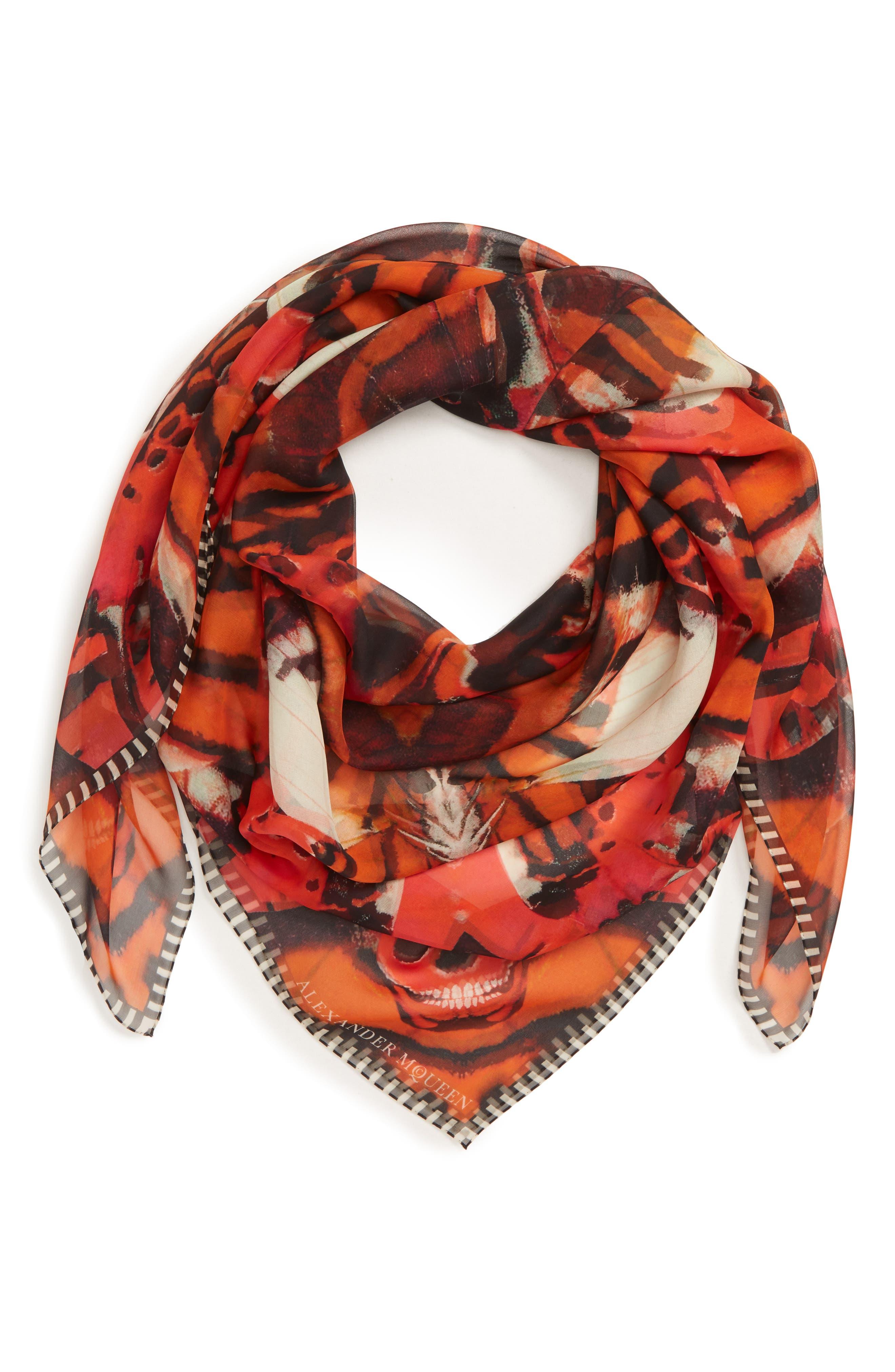 Skull & Tiger Moth Print Silk Chiffon Scarf,                             Alternate thumbnail 2, color,                             ORANGE