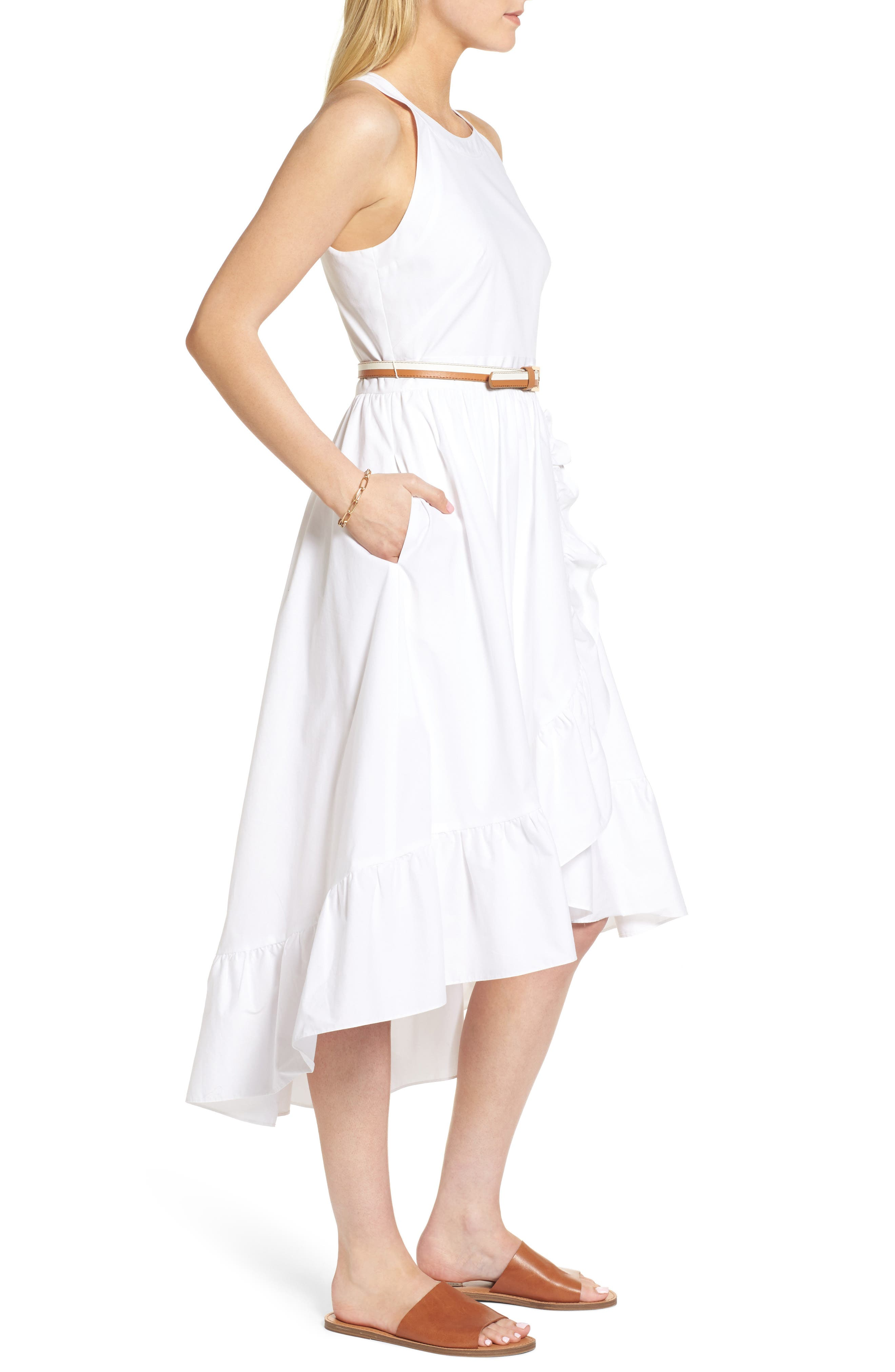Belted High/Low Dress,                             Alternate thumbnail 3, color,                             100