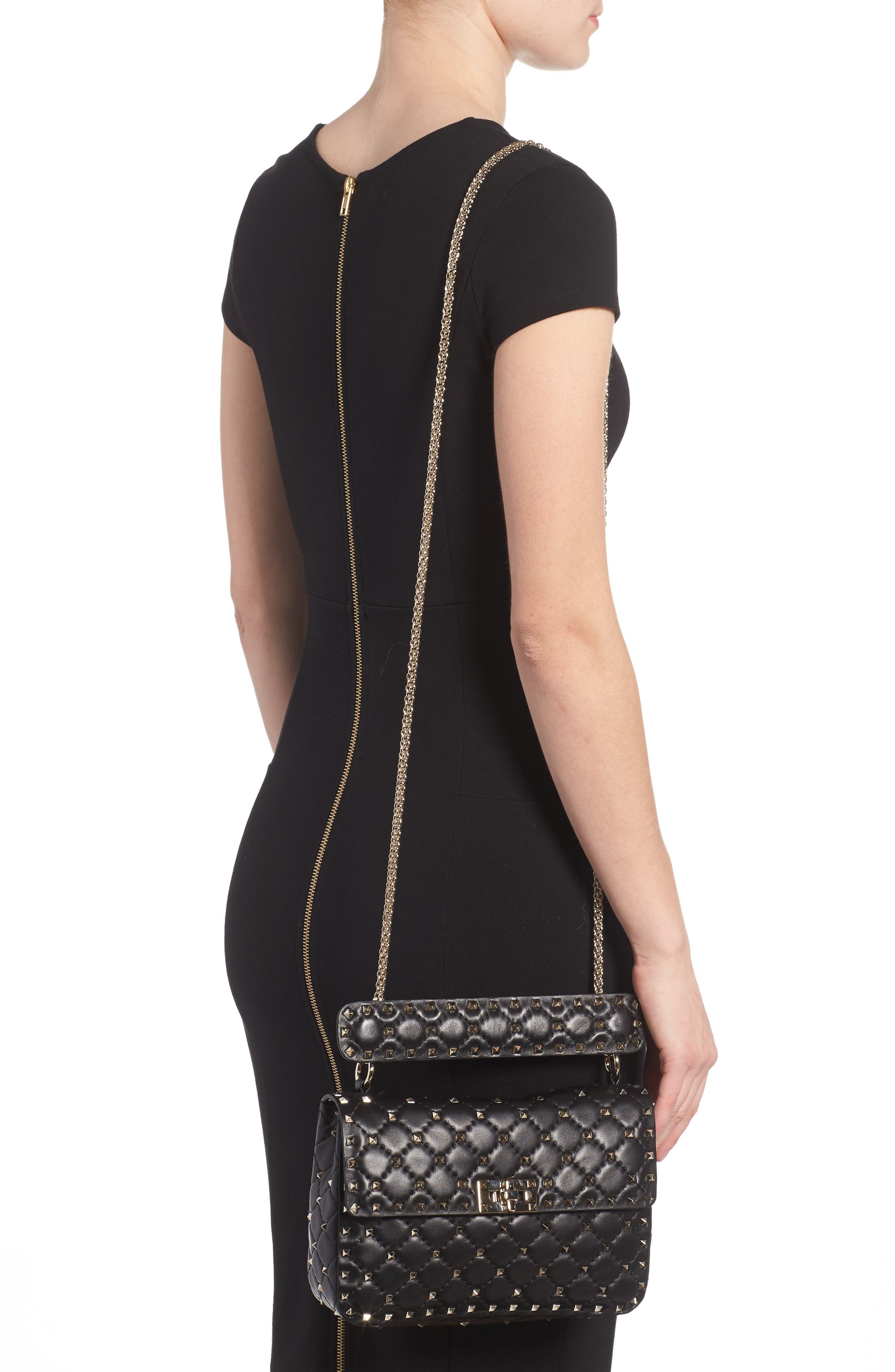 Medium Rockstud Matelassé Quilted Leather Shoulder Bag,                             Alternate thumbnail 2, color,                             BLACK