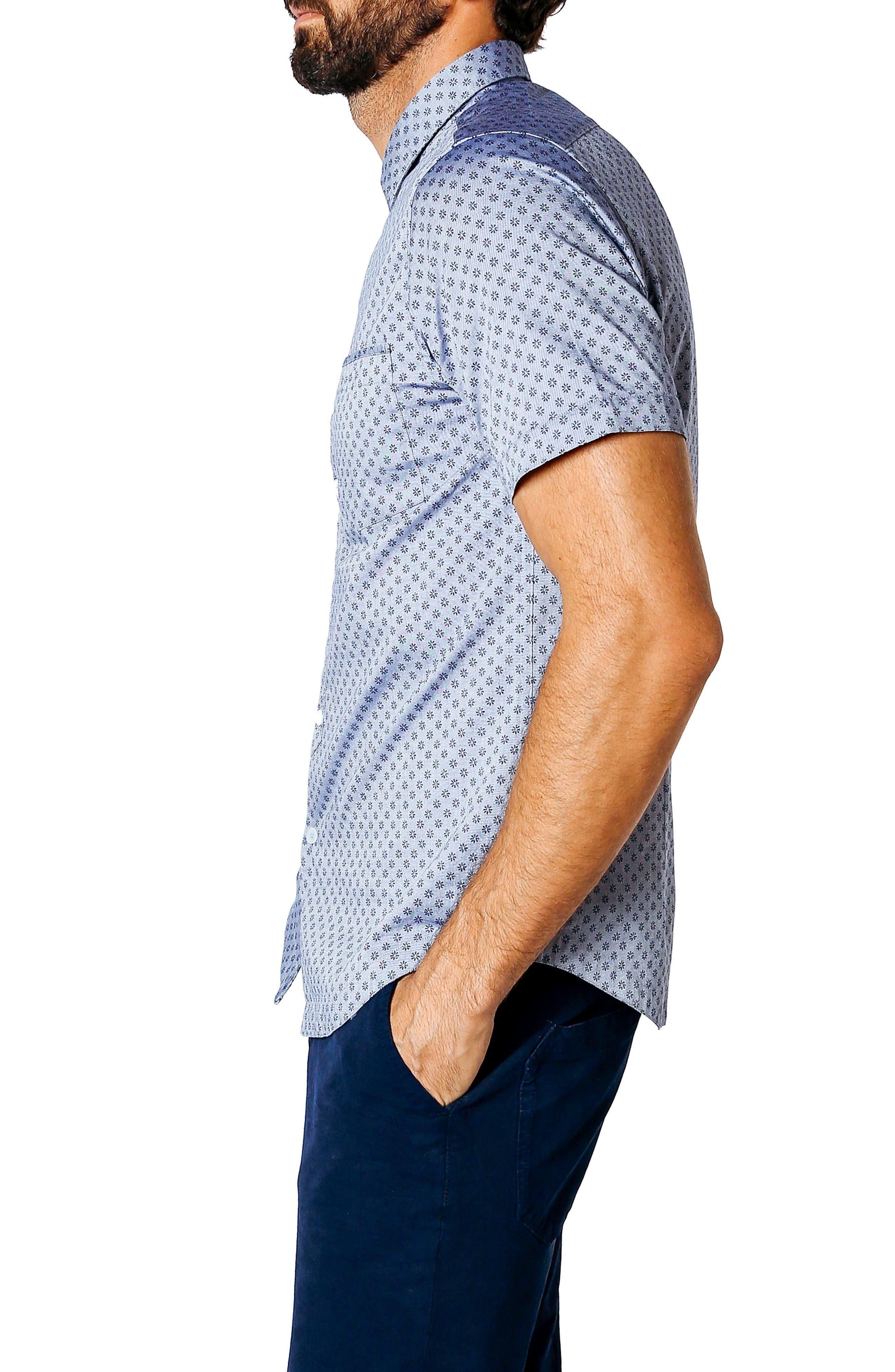 Trim Fit Micro Floral Sport Shirt,                             Alternate thumbnail 3, color,                             INDIGO