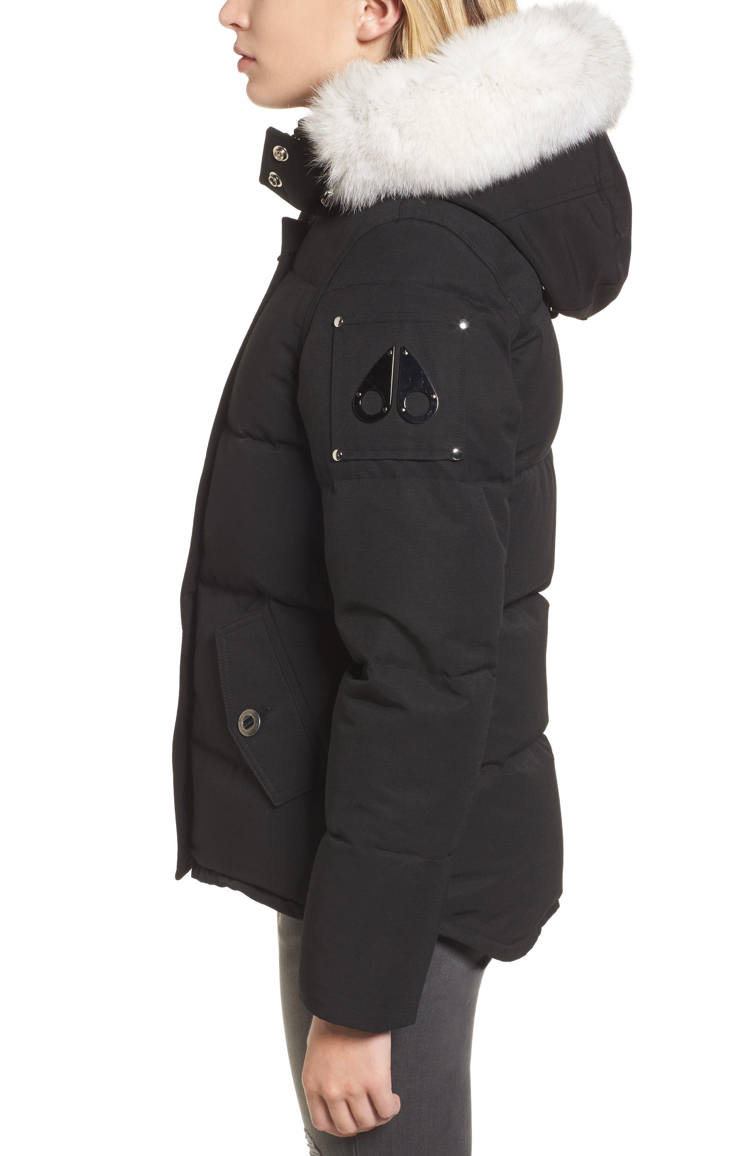 Genuine Fox Fur Trim Hooded Down Coat,                             Alternate thumbnail 3, color,                             009