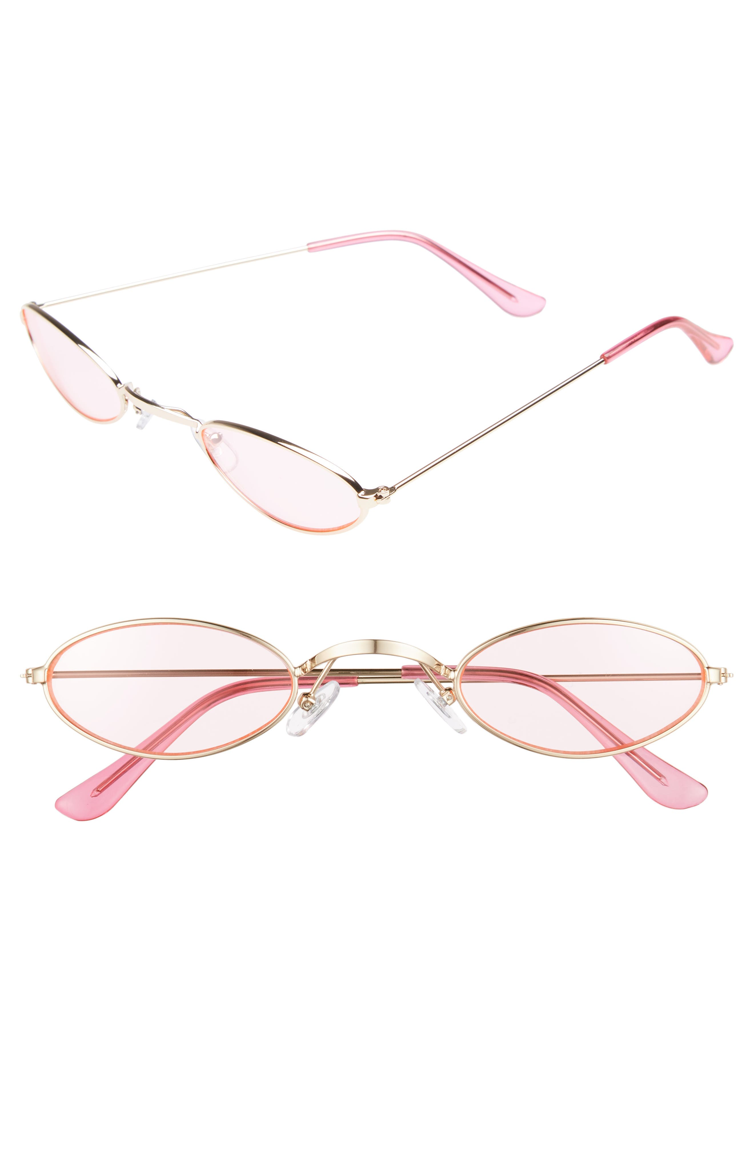 48mm Mini Wide Oval Metal Sunglasses,                         Main,                         color, PINK/ GOLD