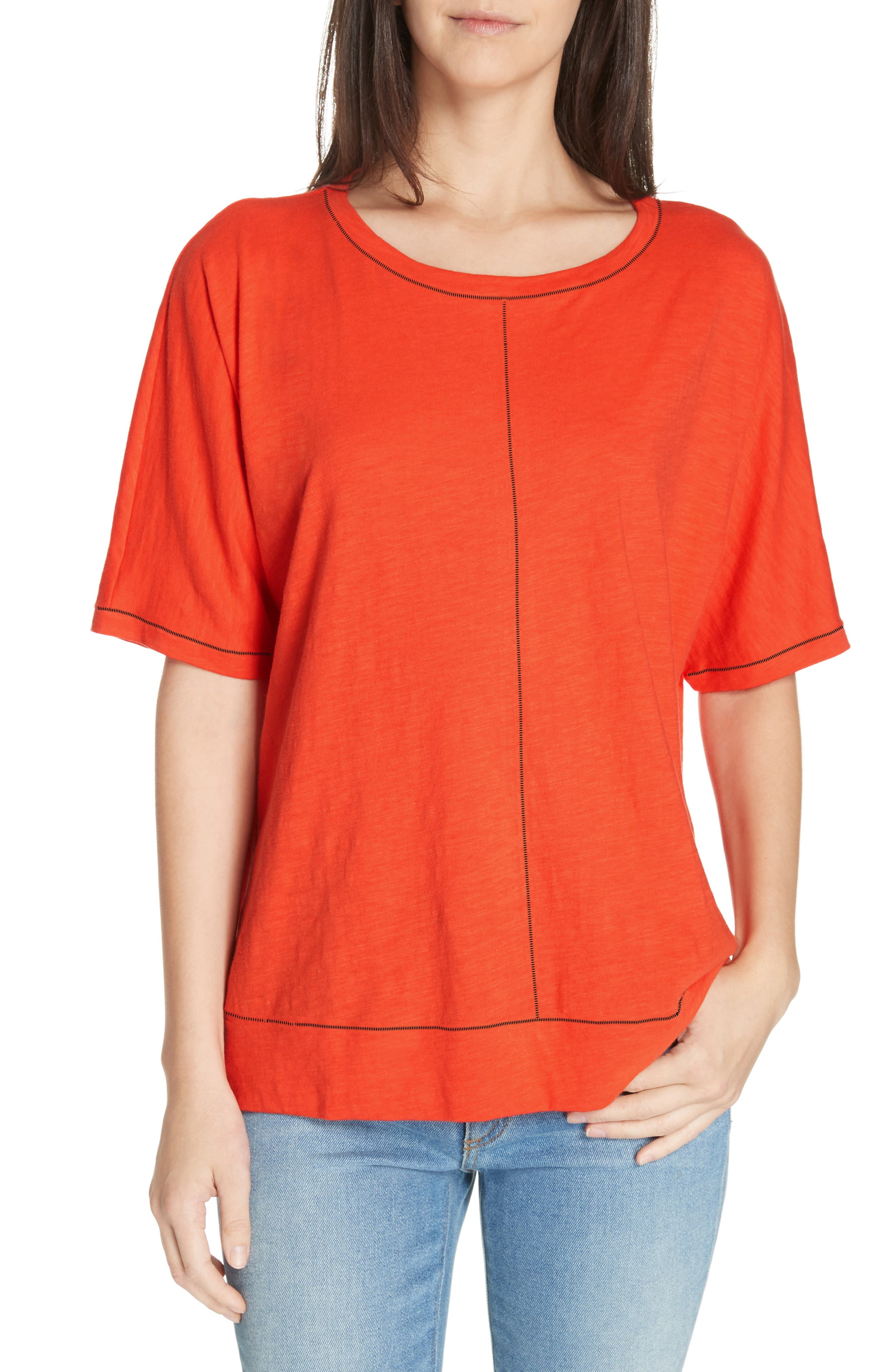 Jewel Neck Organic Cotton Tee by Eileen Fisher