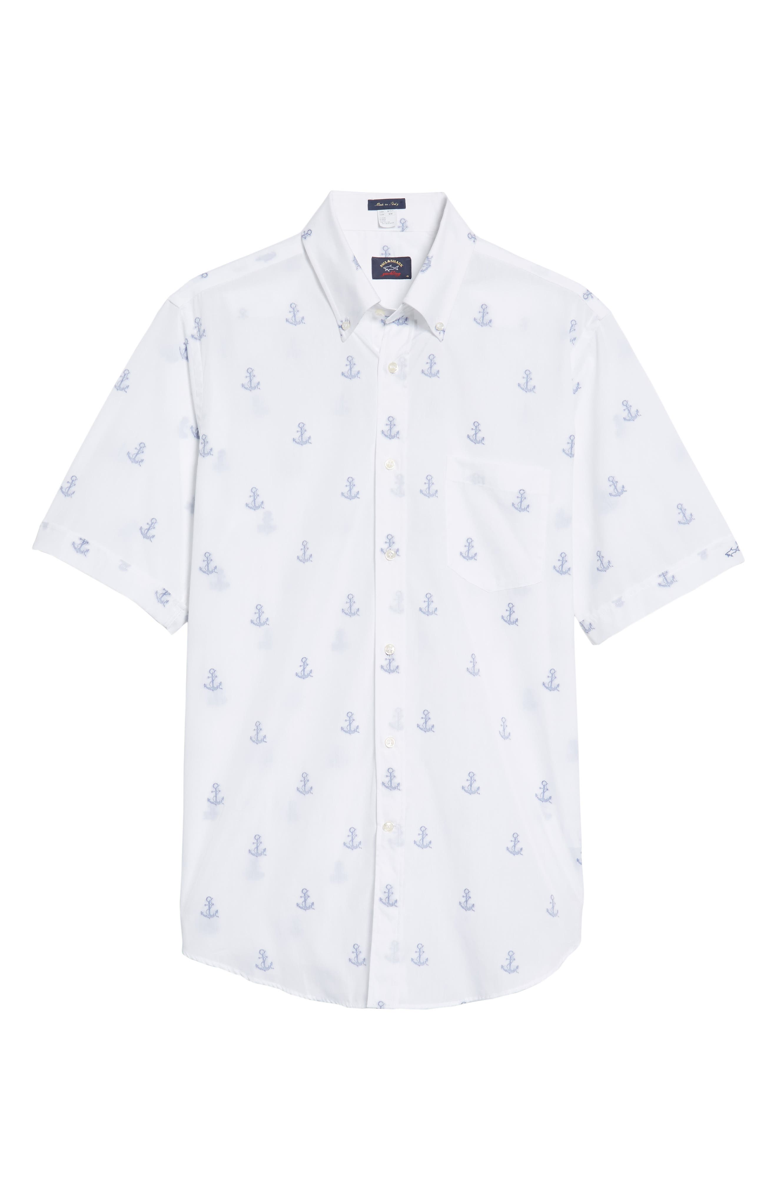 Paul&Shark Regular Fit Anchor Sport Shirt,                             Alternate thumbnail 6, color,                             110