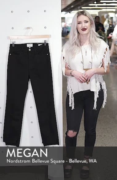 Le High Straight High Waist Staggered Hem Jeans, sales video thumbnail