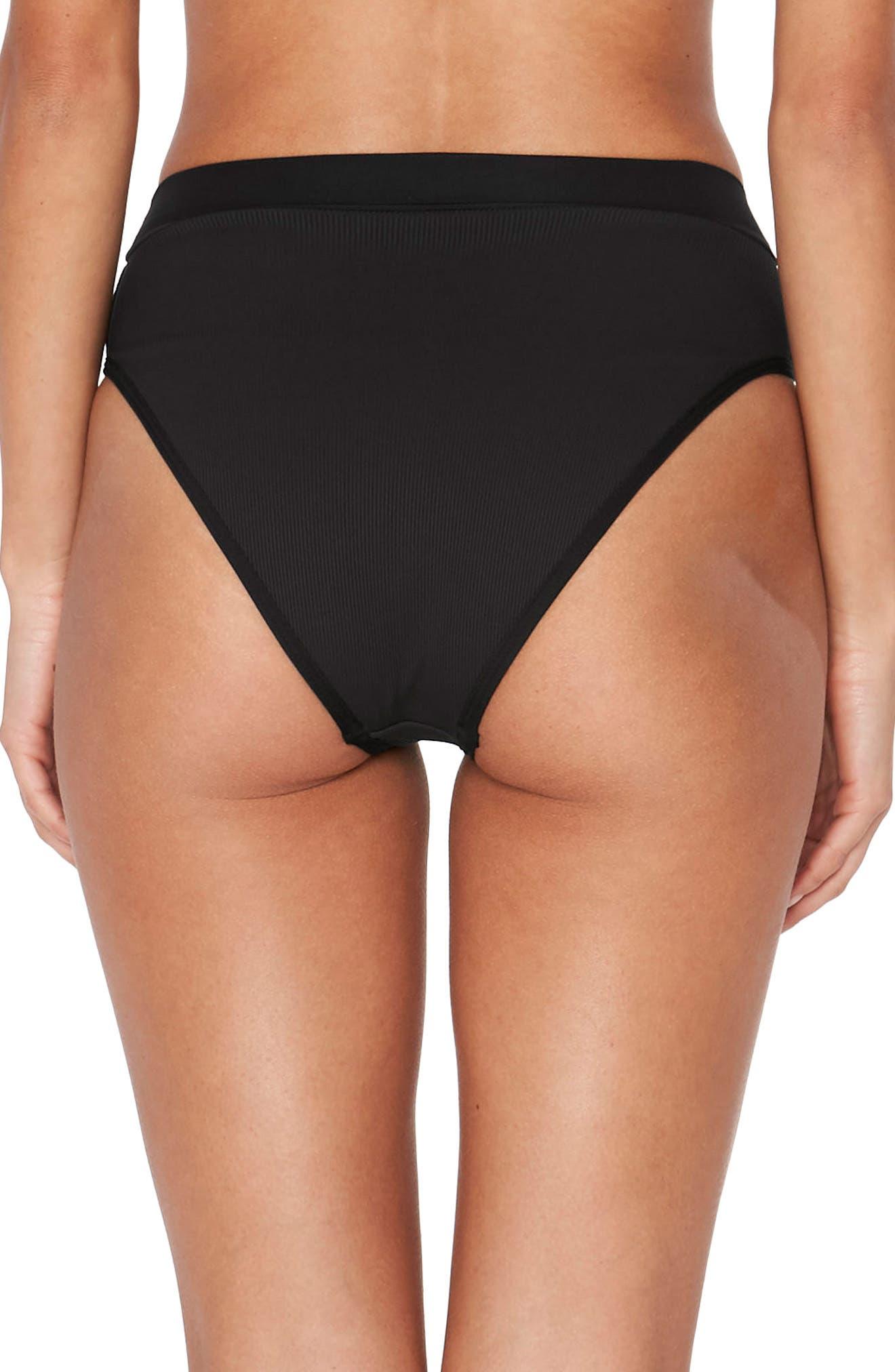 Veronica Ribbed Bikini Bottoms,                             Alternate thumbnail 2, color,                             BLACK