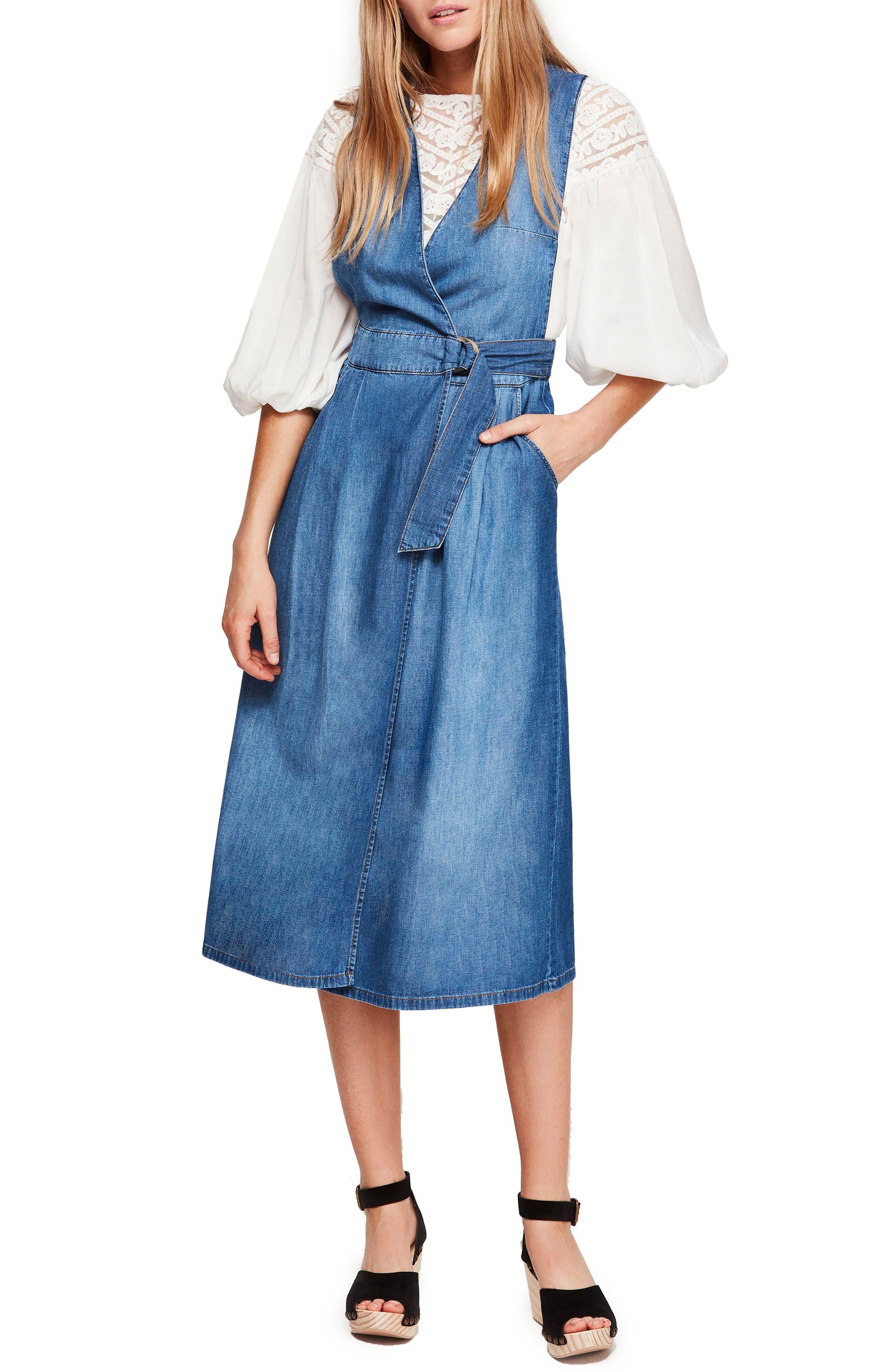 Free People Keeping My Cool Denim Midi Dress, Blue