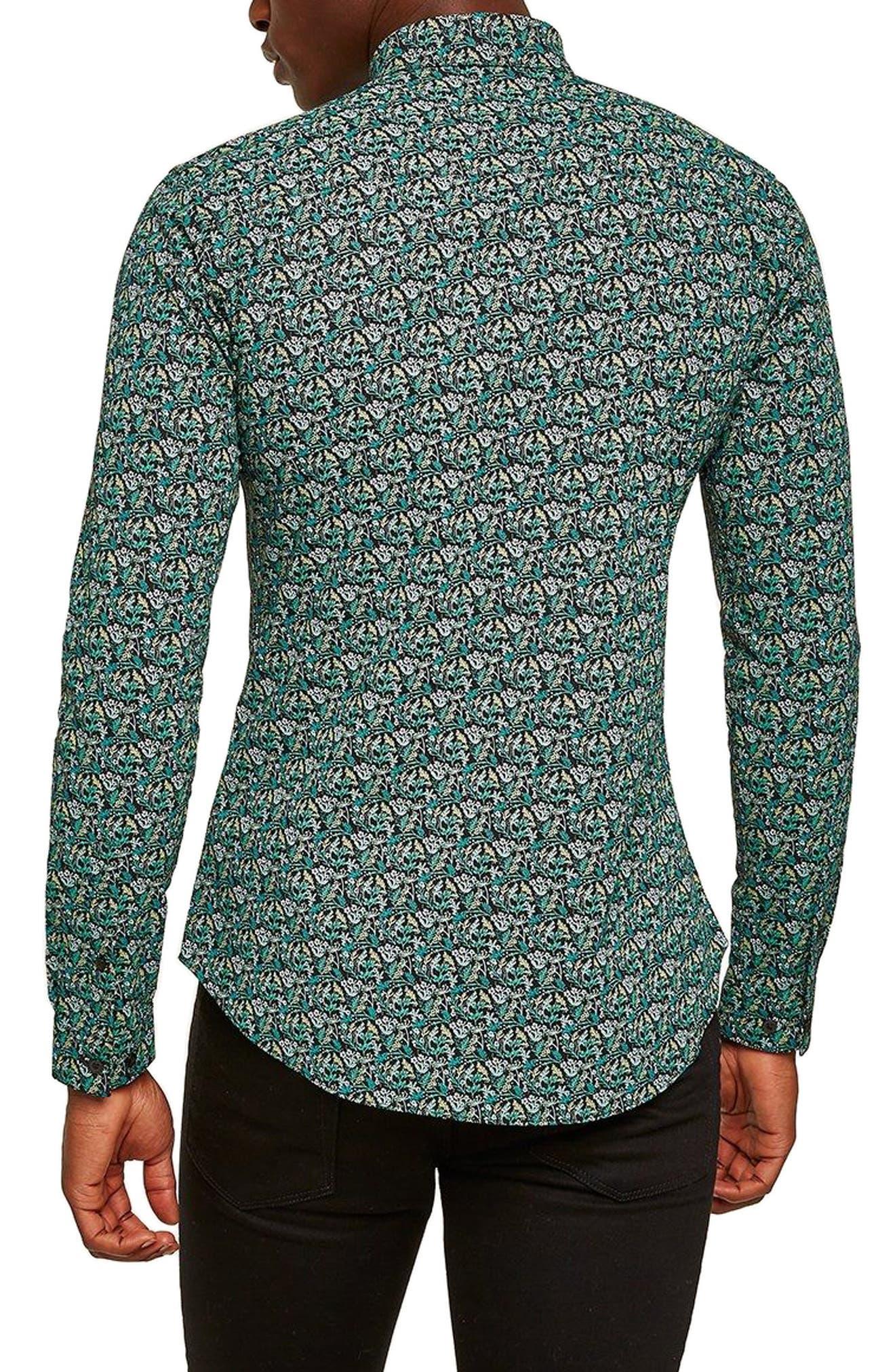 Dark Garden Muscle Fit Sport Shirt,                             Alternate thumbnail 3, color,