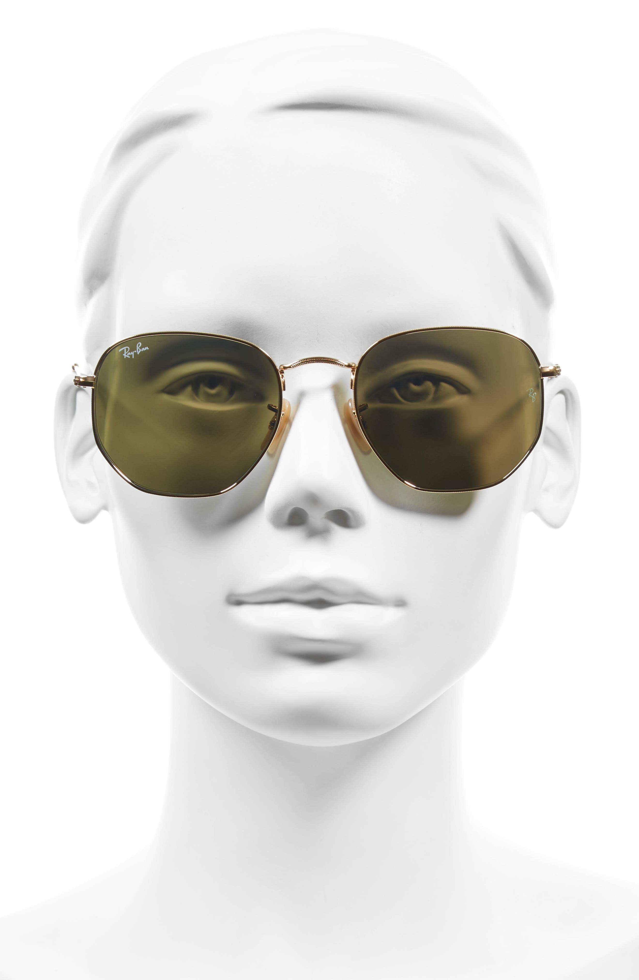 54mm Hexagonal Flat Lens Sunglasses,                             Alternate thumbnail 2, color,                             708