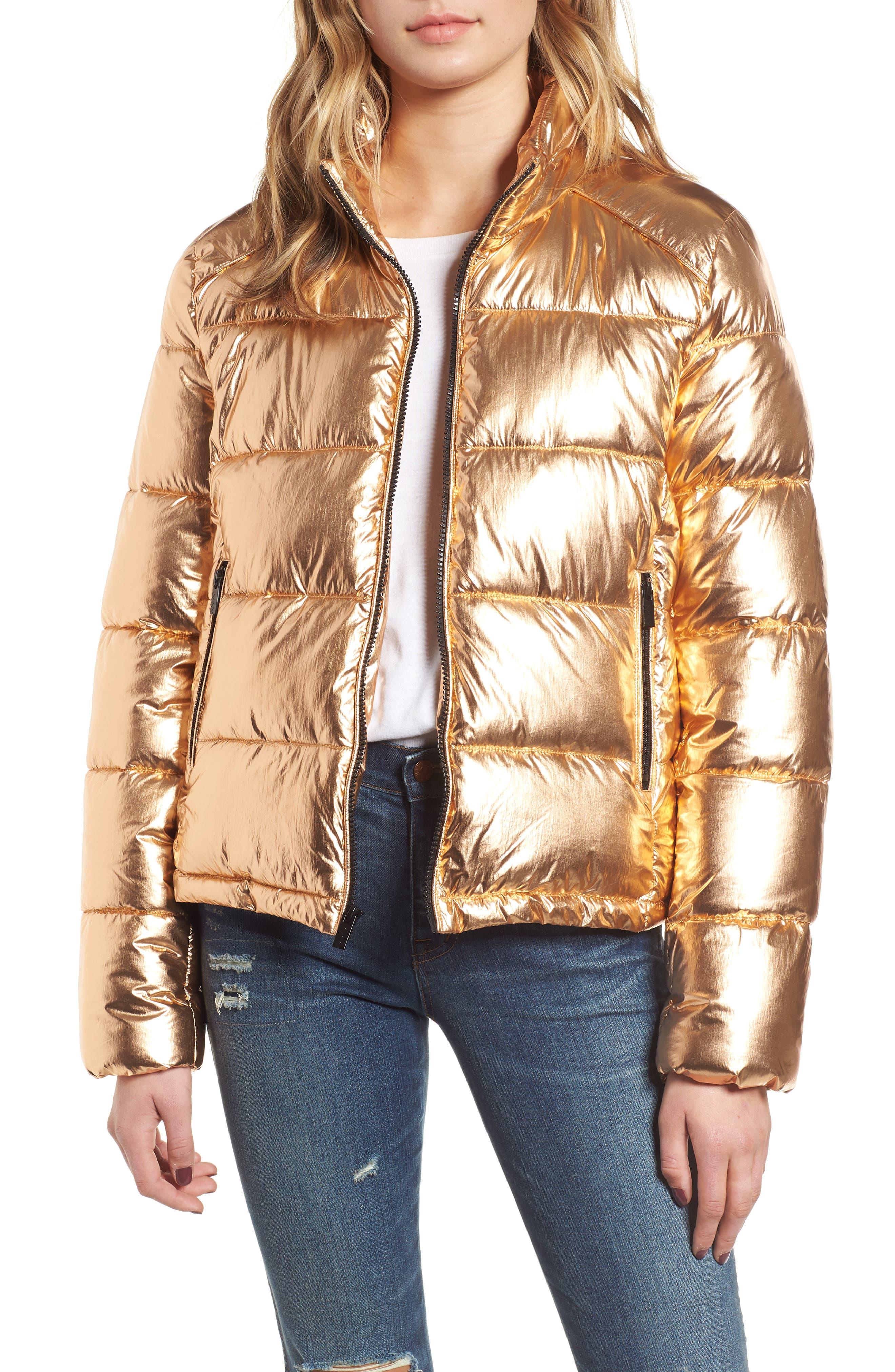 Metallic Puffer Jacket,                             Main thumbnail 1, color,                             COPPER