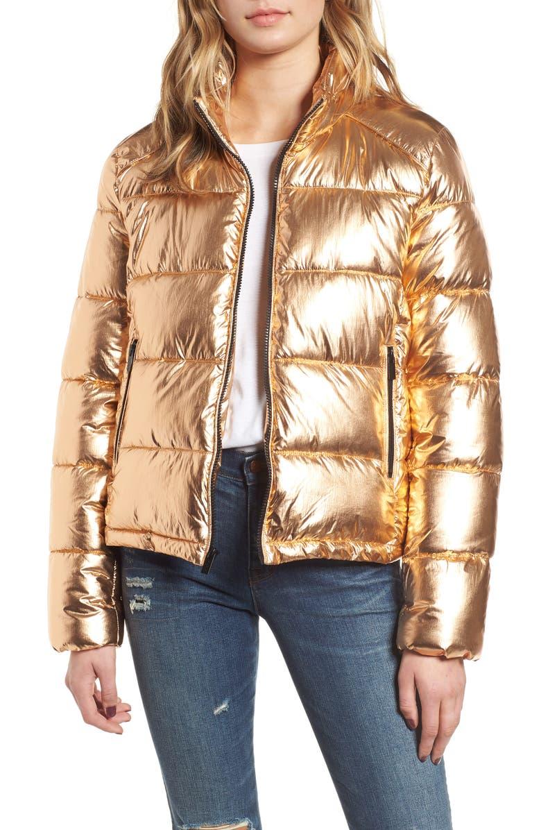 Metallic Puffer Jacket,                         Main,                         color, COPPER