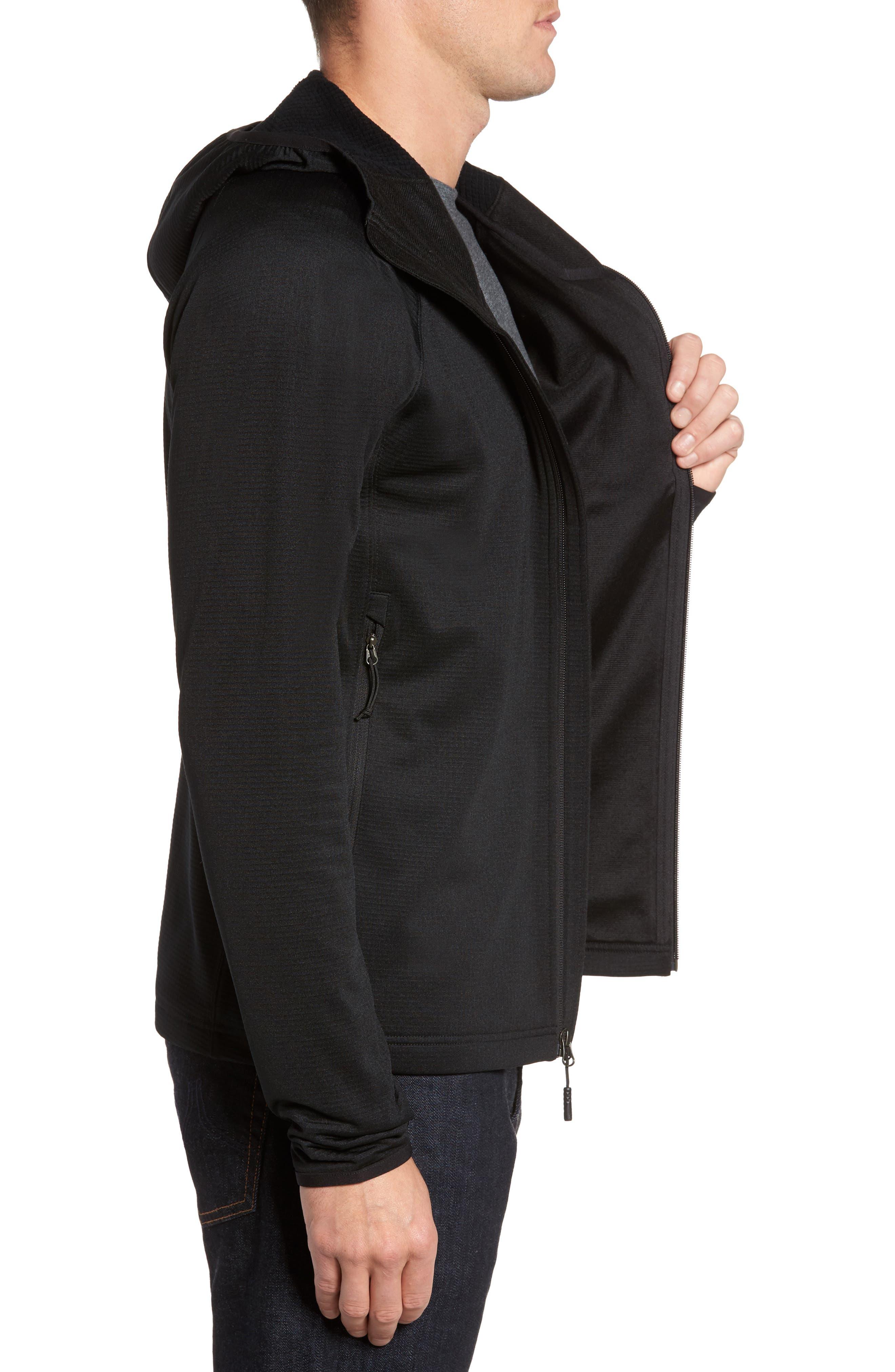 Borod Zip Fleece Jacket,                             Alternate thumbnail 3, color,                             BLACK/ BLACK