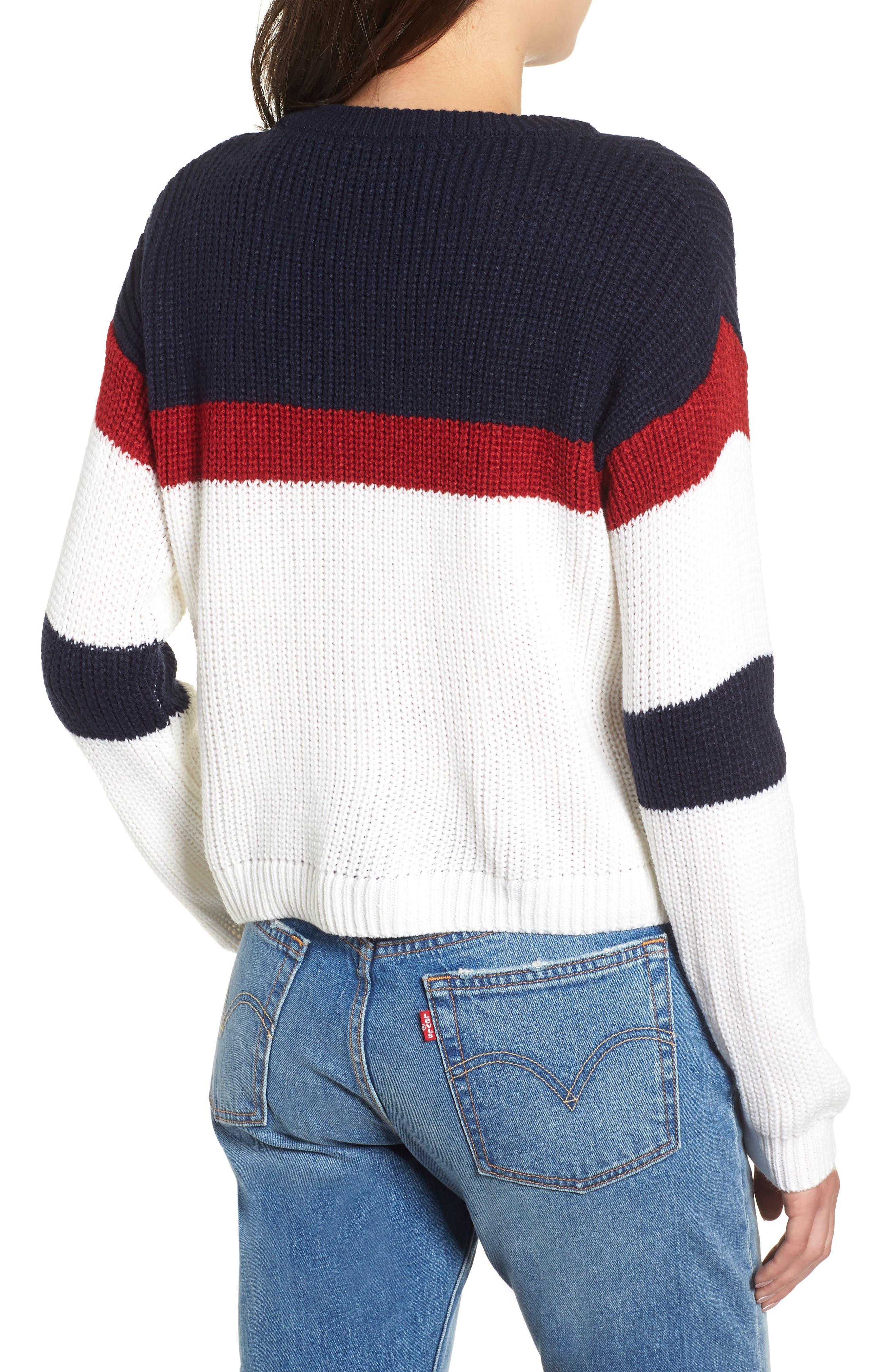Allie Colorblock Crewneck Sweater,                             Alternate thumbnail 2, color,                             NAVY MULTI