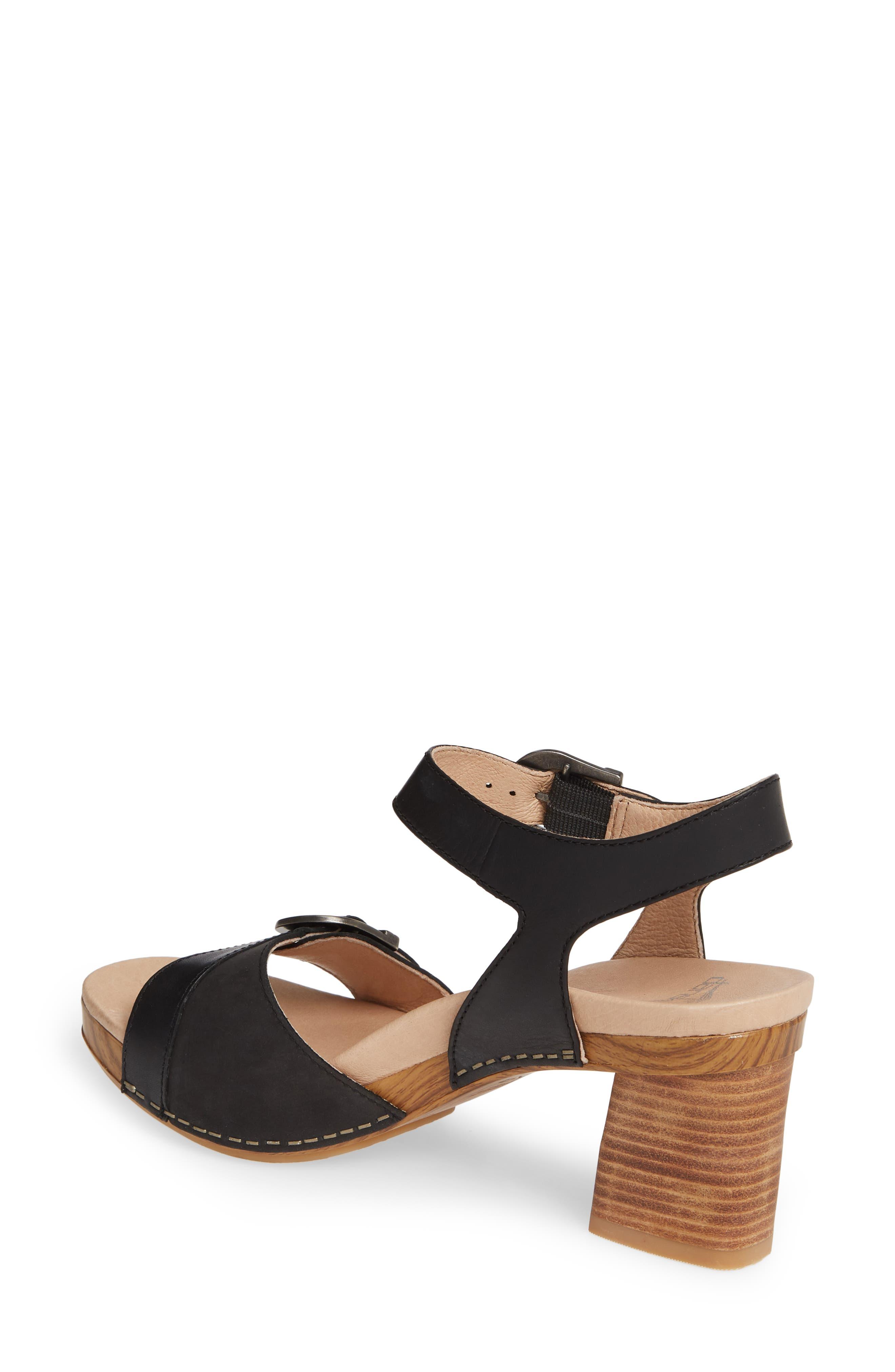 Anna Block Heel Sandal,                             Alternate thumbnail 2, color,                             BLACK LEATHER