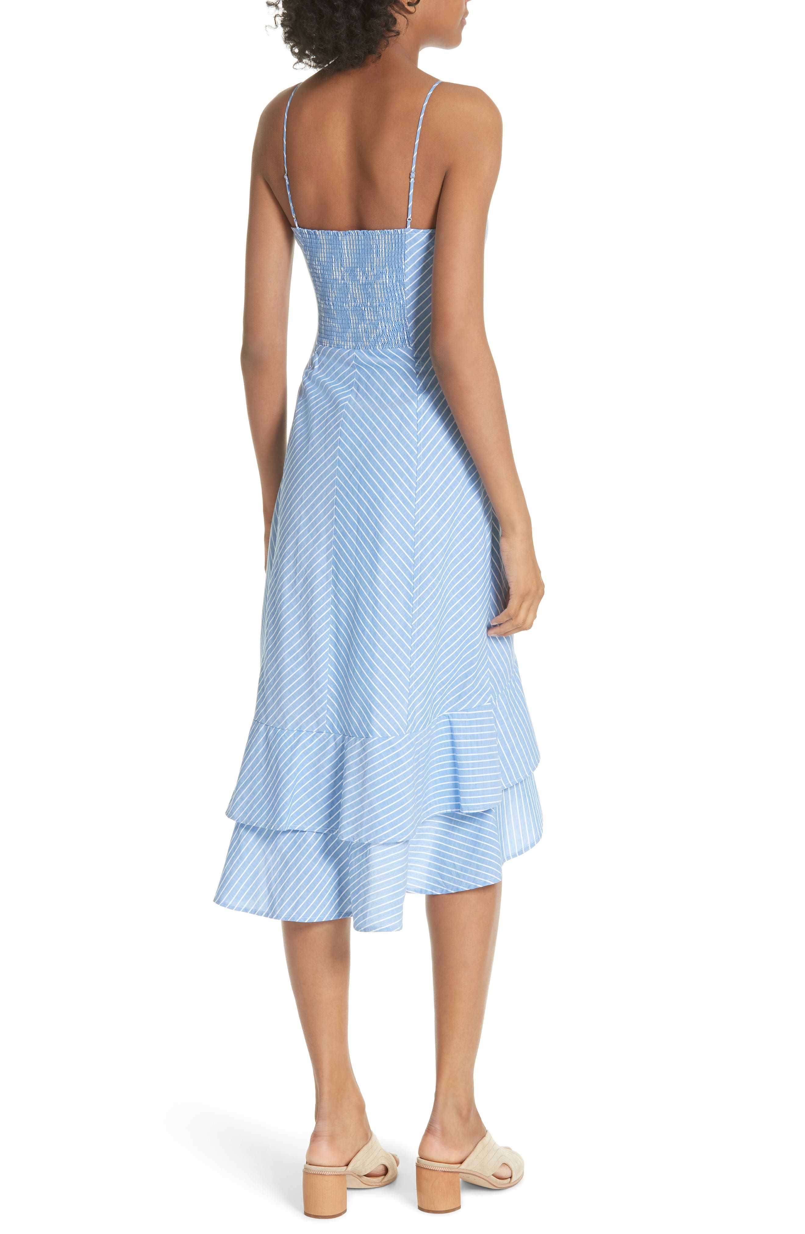 Eberta Stripe High/Low Dress,                             Alternate thumbnail 2, color,                             FRENCH CHAMBRAY