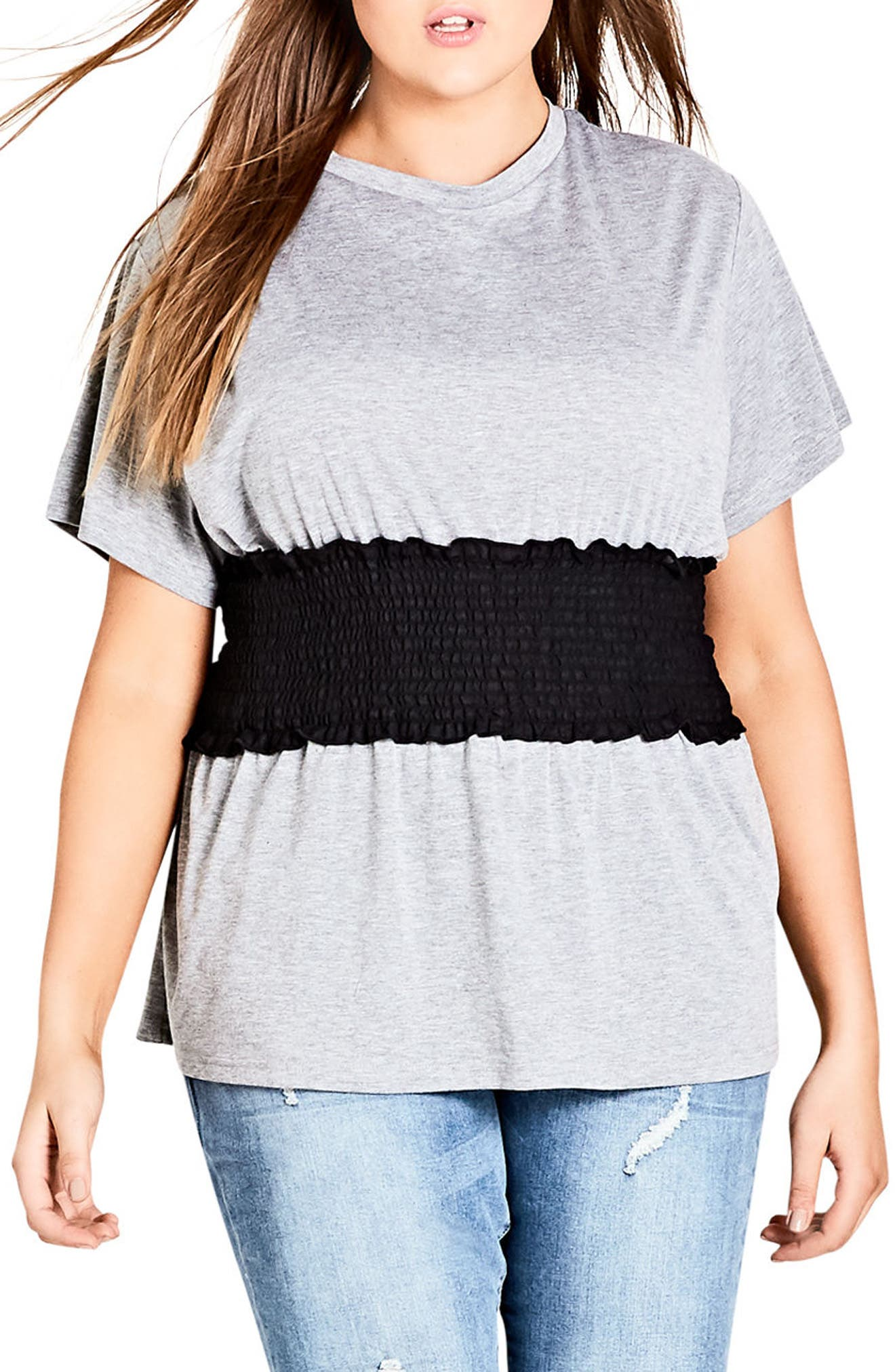 Smock Waist Tee,                             Main thumbnail 1, color,                             GREY
