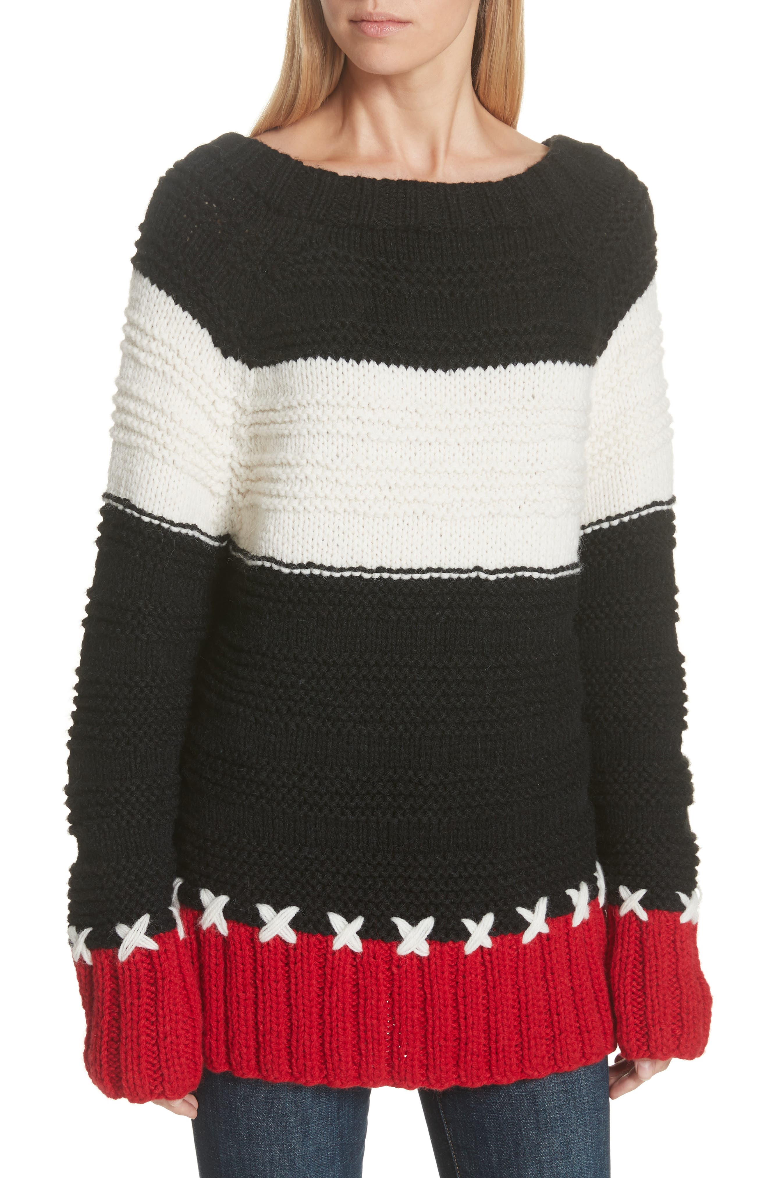 SMYTHE,                             Stripe Cross Stitched Alpaca Blend Sweater,                             Main thumbnail 1, color,                             001