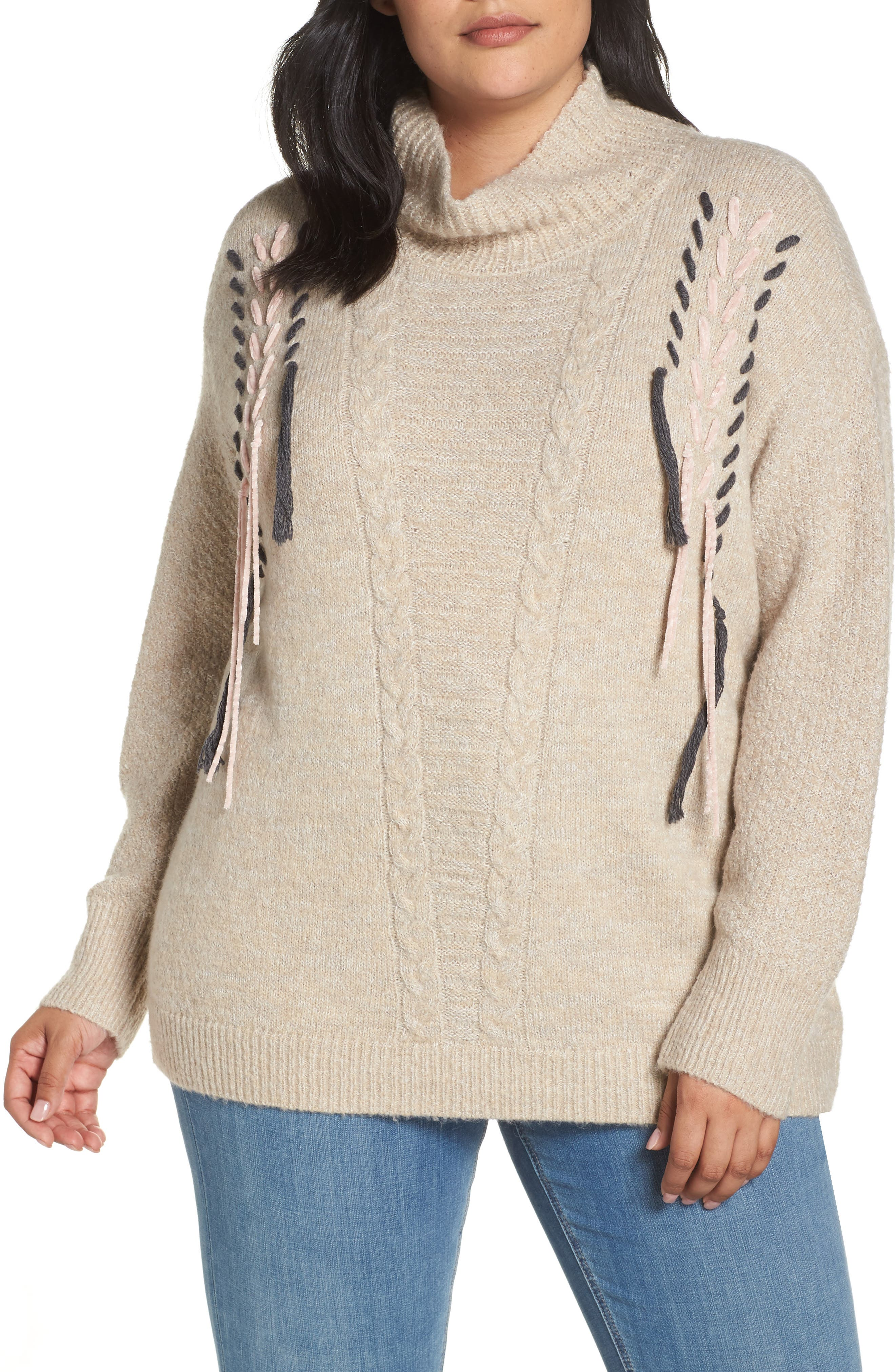 Mock Neck Cable Knit Sweater,                         Main,                         color, 230