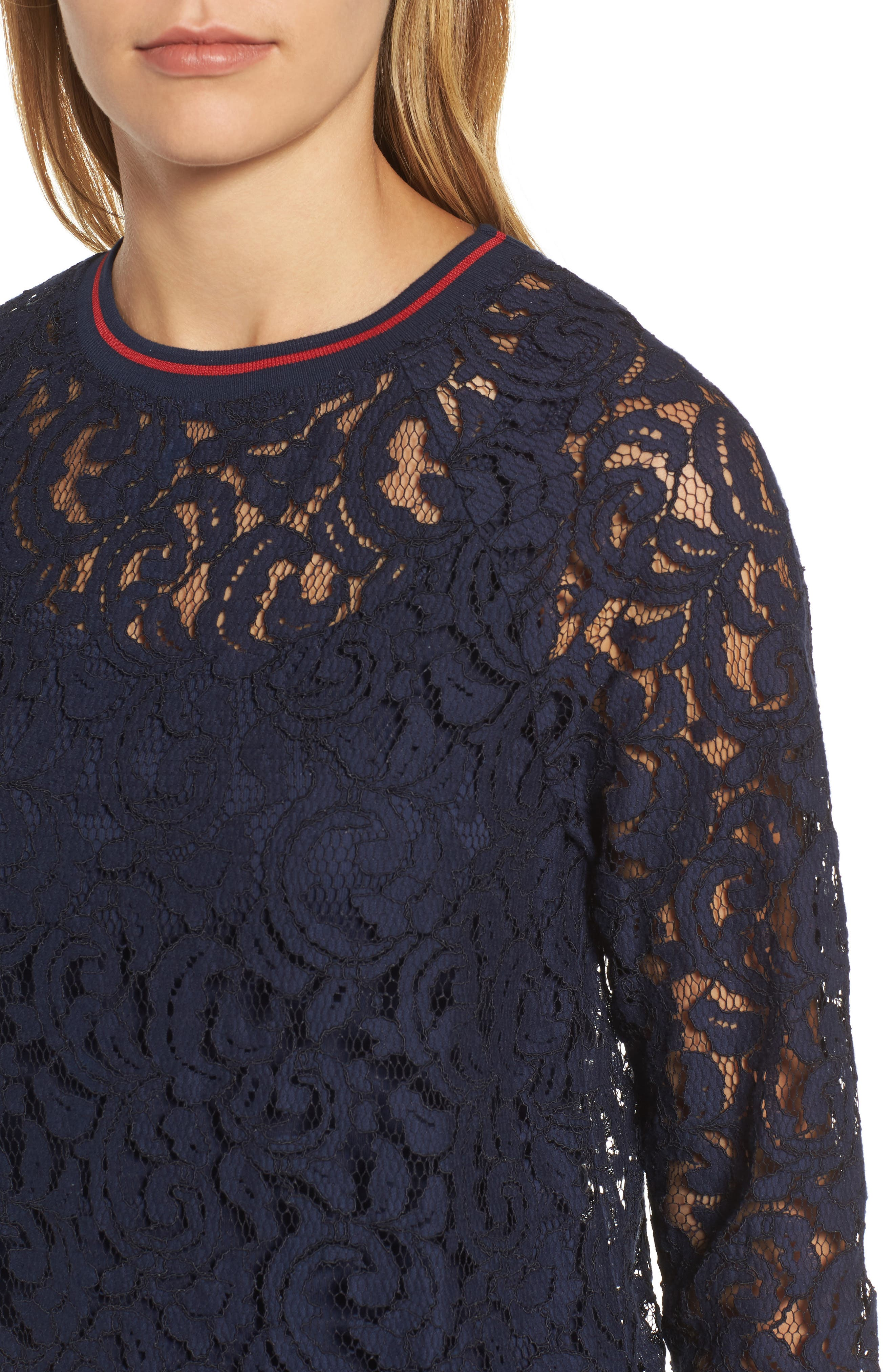 Ribbed Trim Lace Top,                             Alternate thumbnail 4, color,                             401