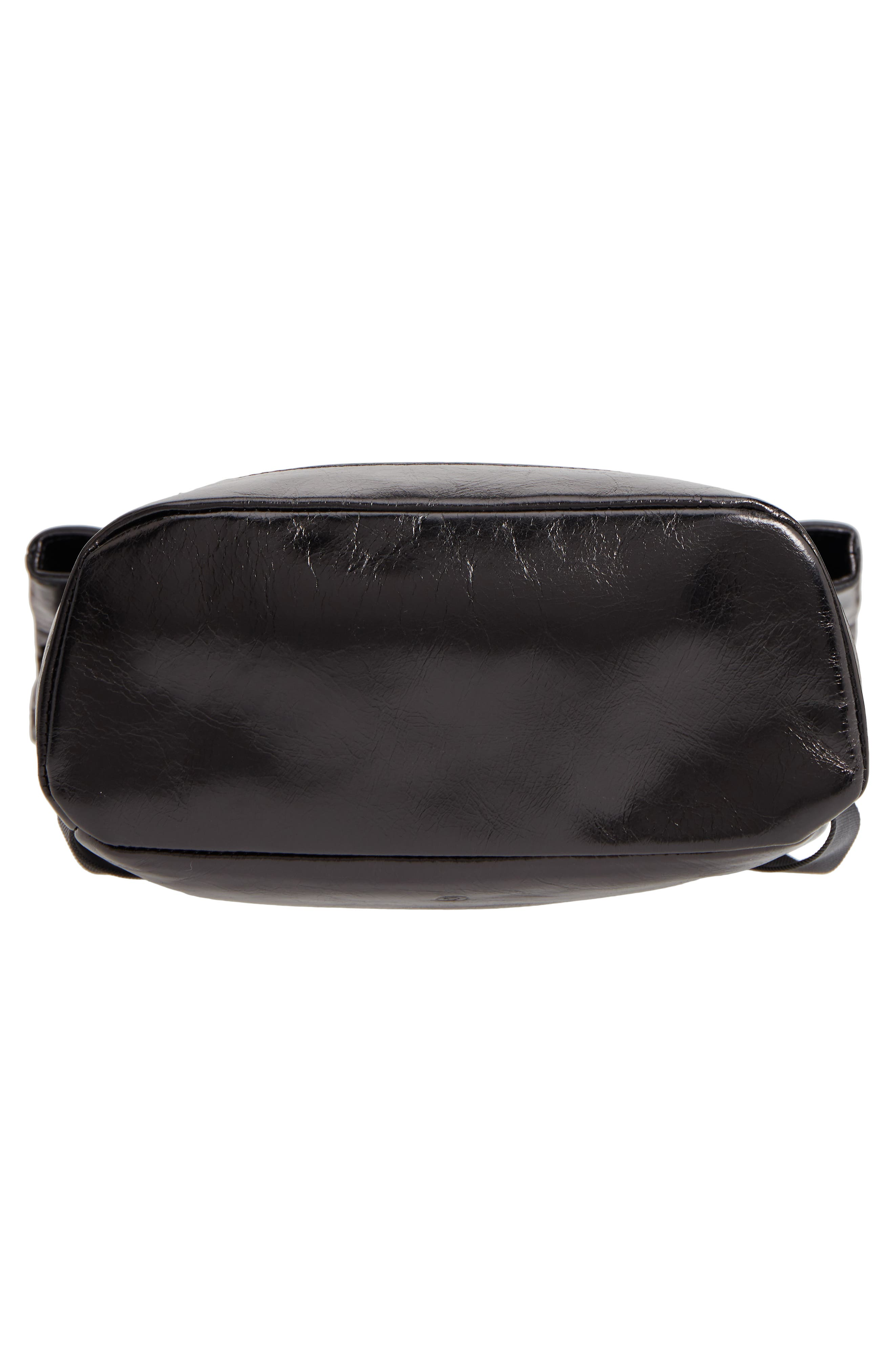 Remy Glazed Leather Backpack,                             Alternate thumbnail 6, color,                             BLACK